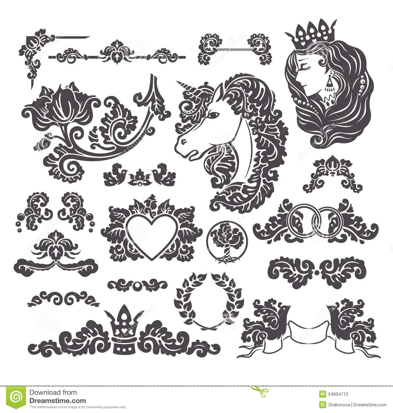 Medieval decorative wedding set stock vector illustration of download comp stopboris Image collections