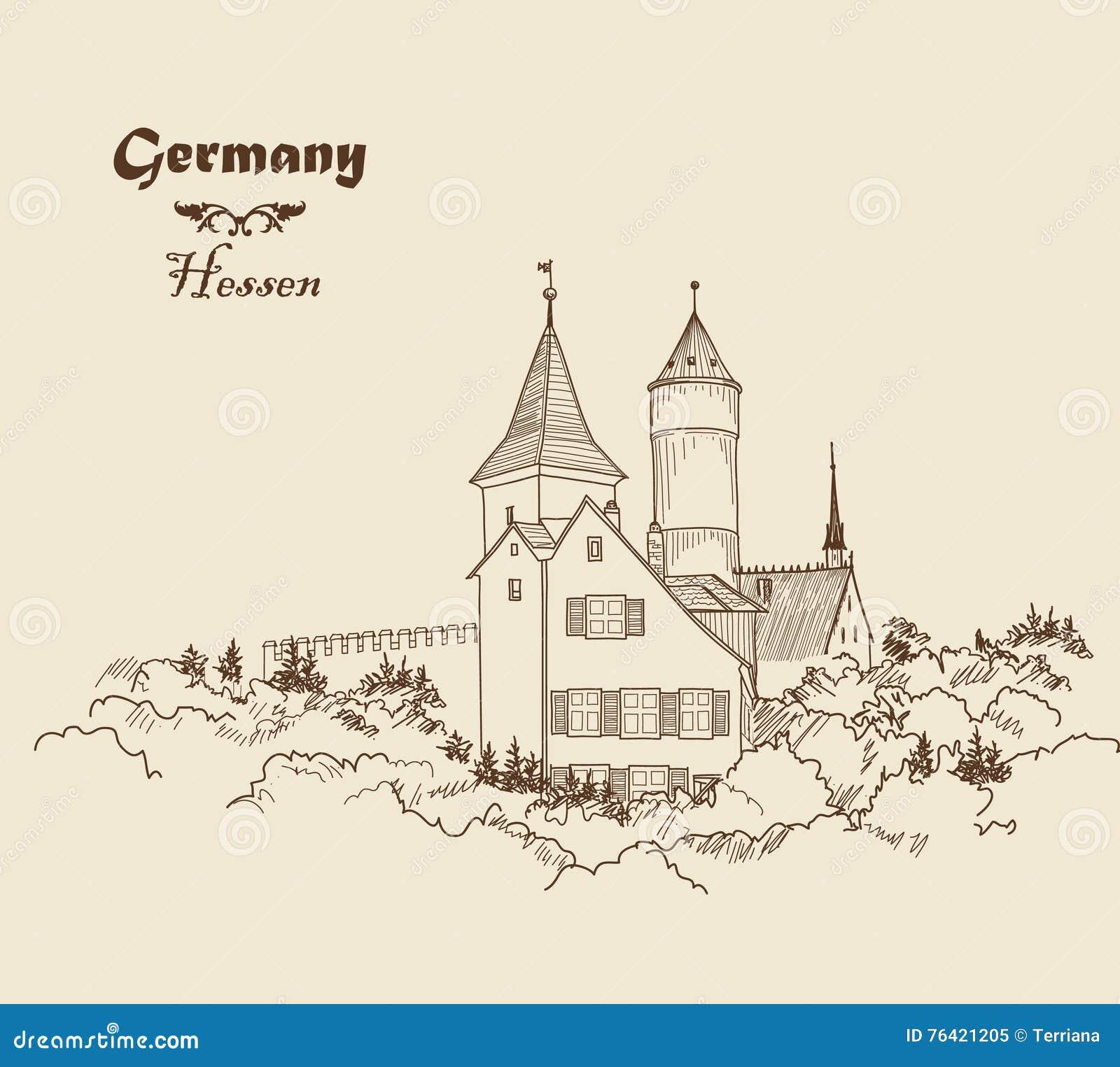 Me val European Castle Landscape Pencil Drawn Sketch Ancient