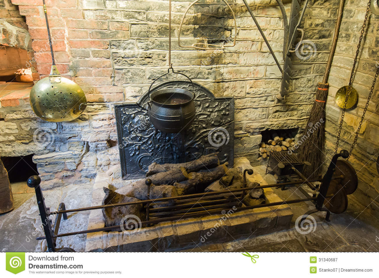 Medieval Fireplace Royalty Free Stock Photography - Image ...