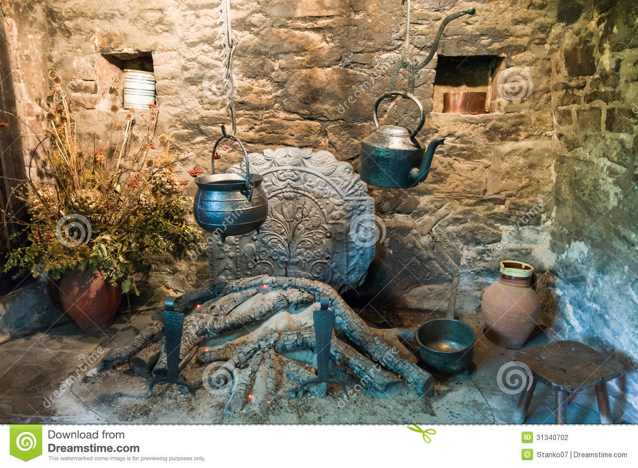 medieval fireplace stock photography image 31340702