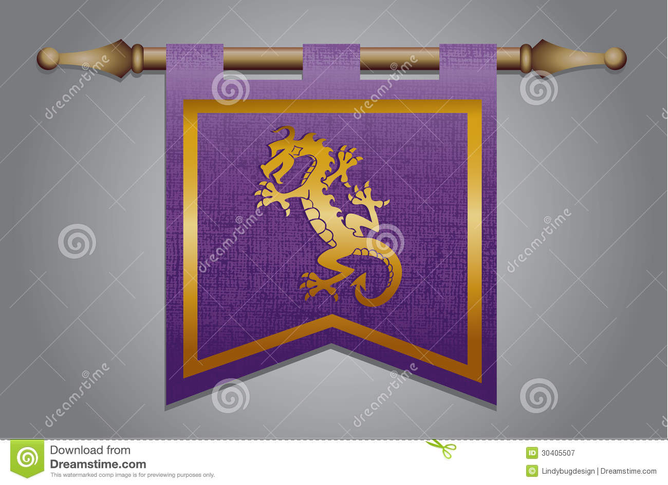 medieval flag with dragon emblem stock vector