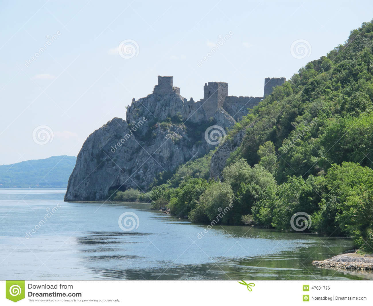 Medieval fort on a stoned hill over the River Danube