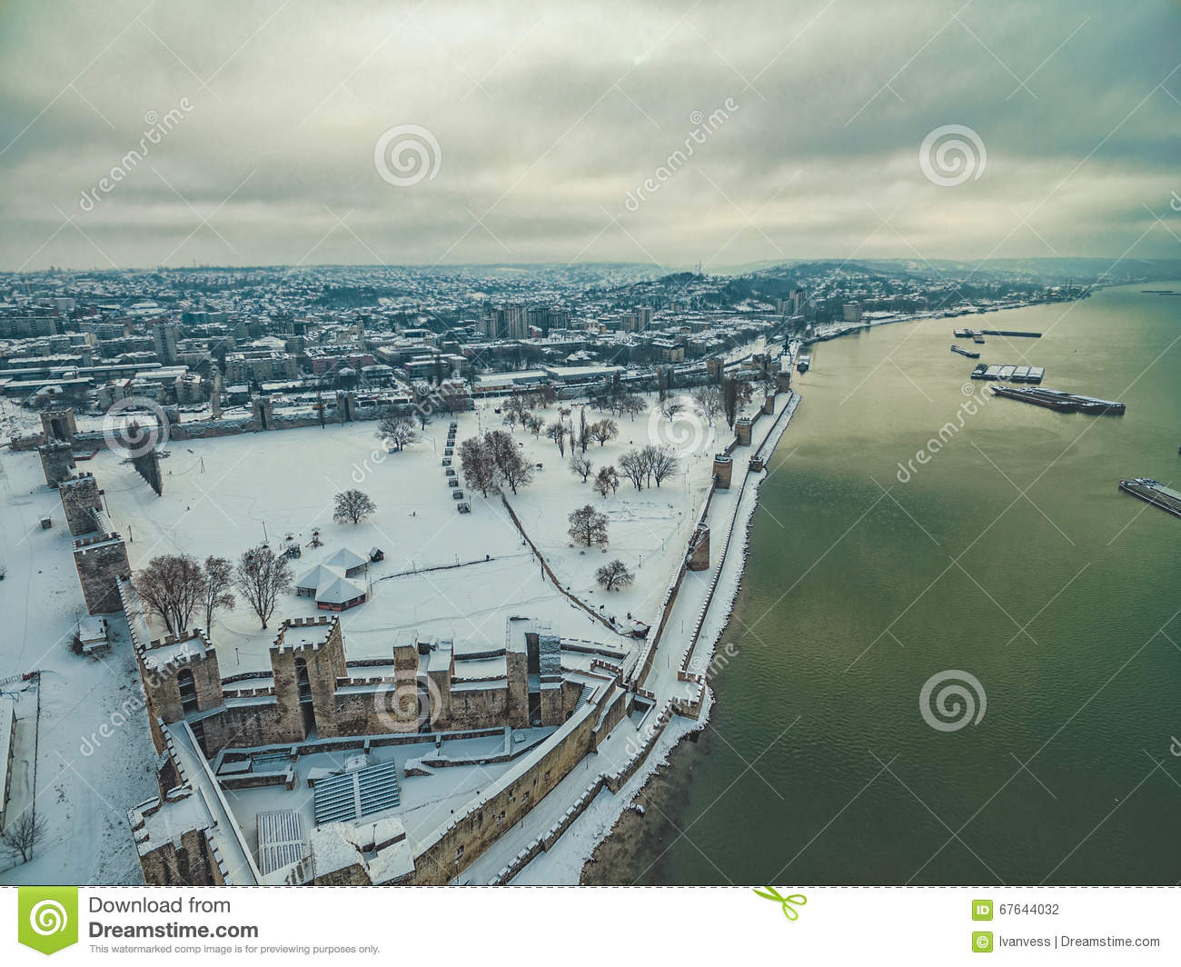 Medieval fortress covered in snow
