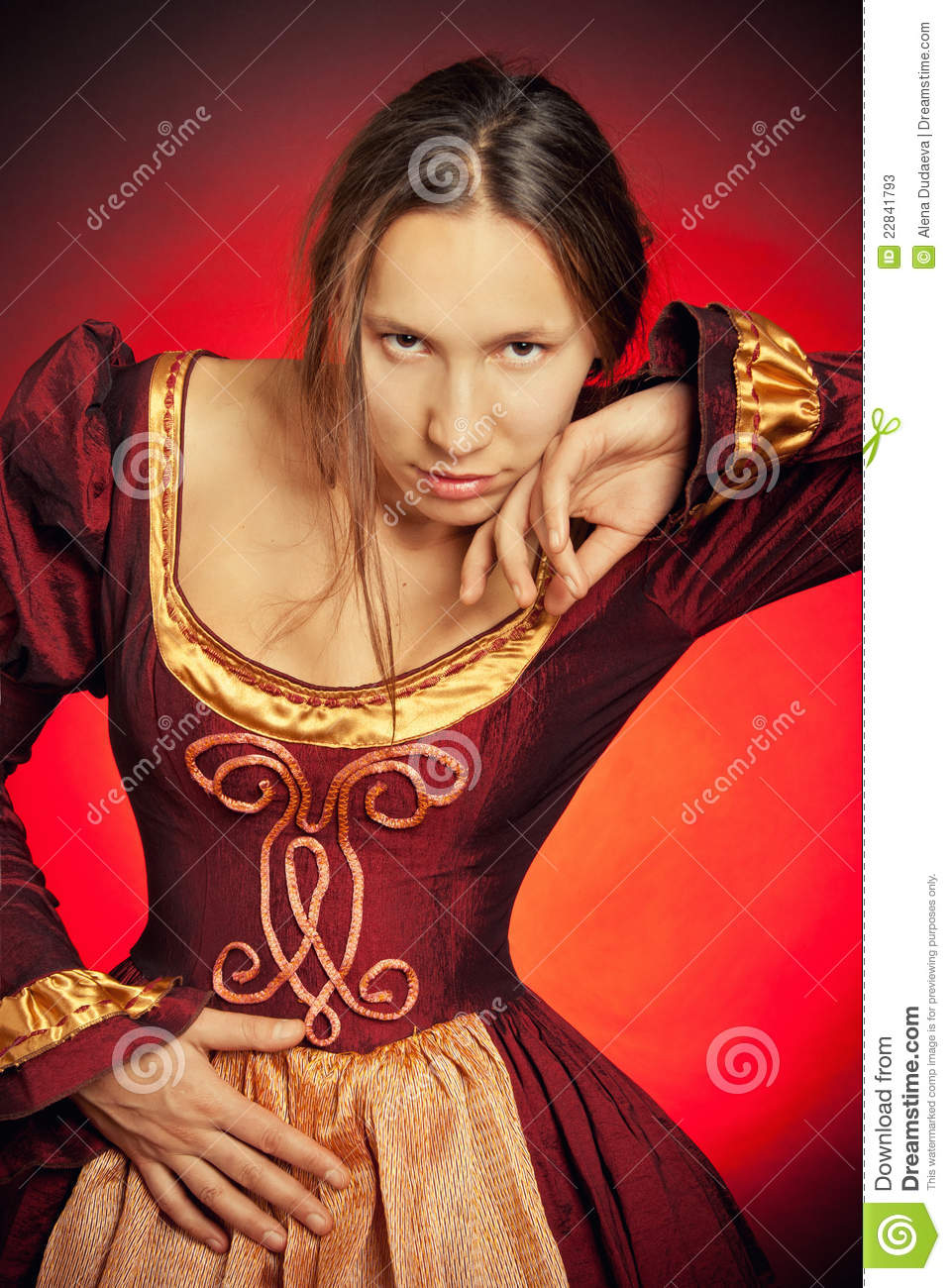 medieval girl in the maroon dress stock photos image