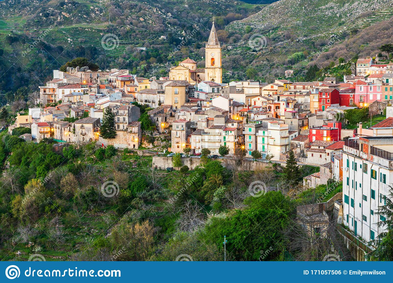 The Medieval Hill Town Of Francavilla Di Sicilia At Sunset Editorial Photo Image Of Messina Province 171057506