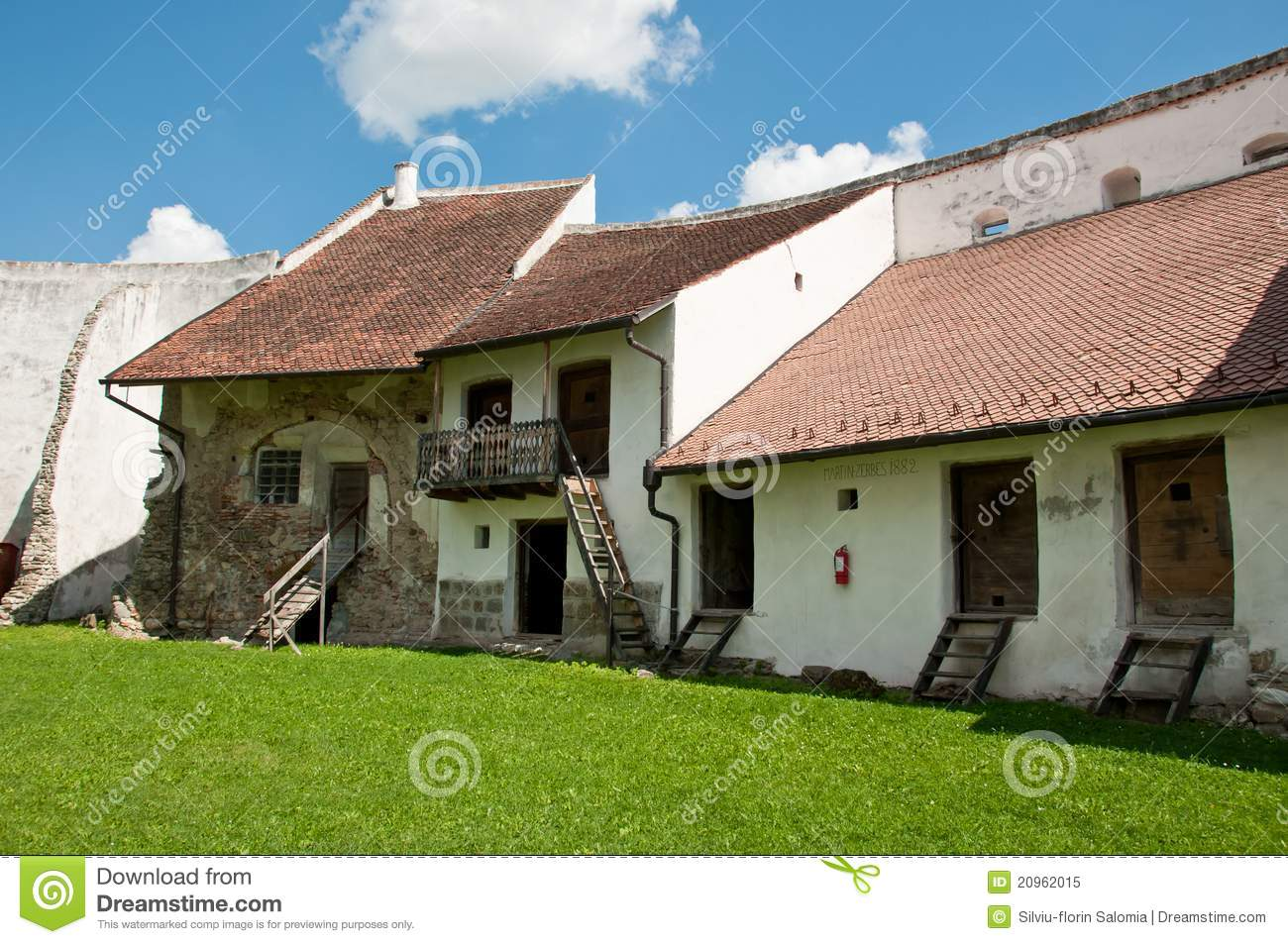 Medieval homes inside a rural romanian fortress stock for Fortress house