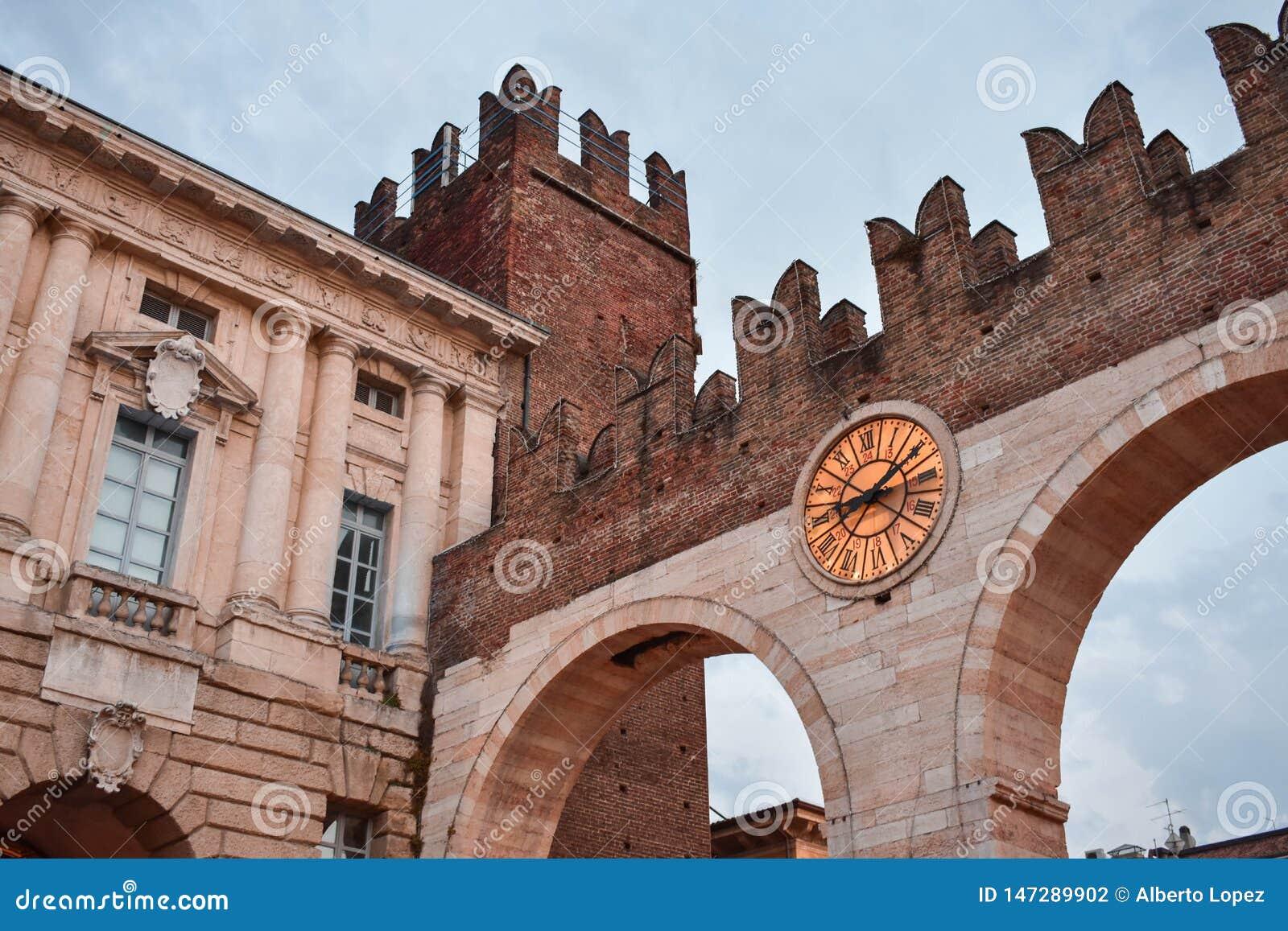 Medieval italian castle in Verona: Portoni della Bra.
