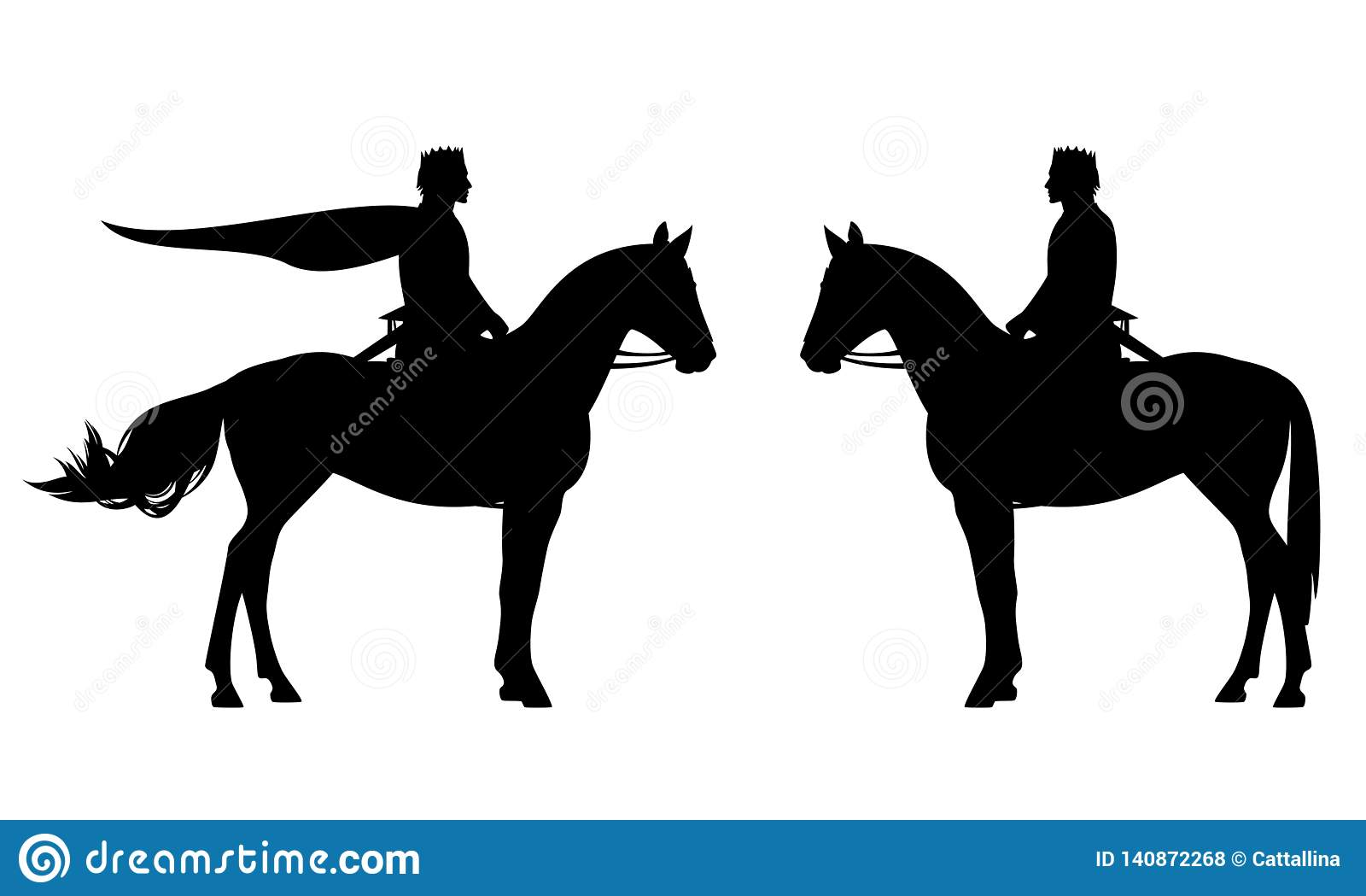 Medieval King Riding A Horse Black Vector Silhouette Stock Vector Illustration Of Side Outline 140872268