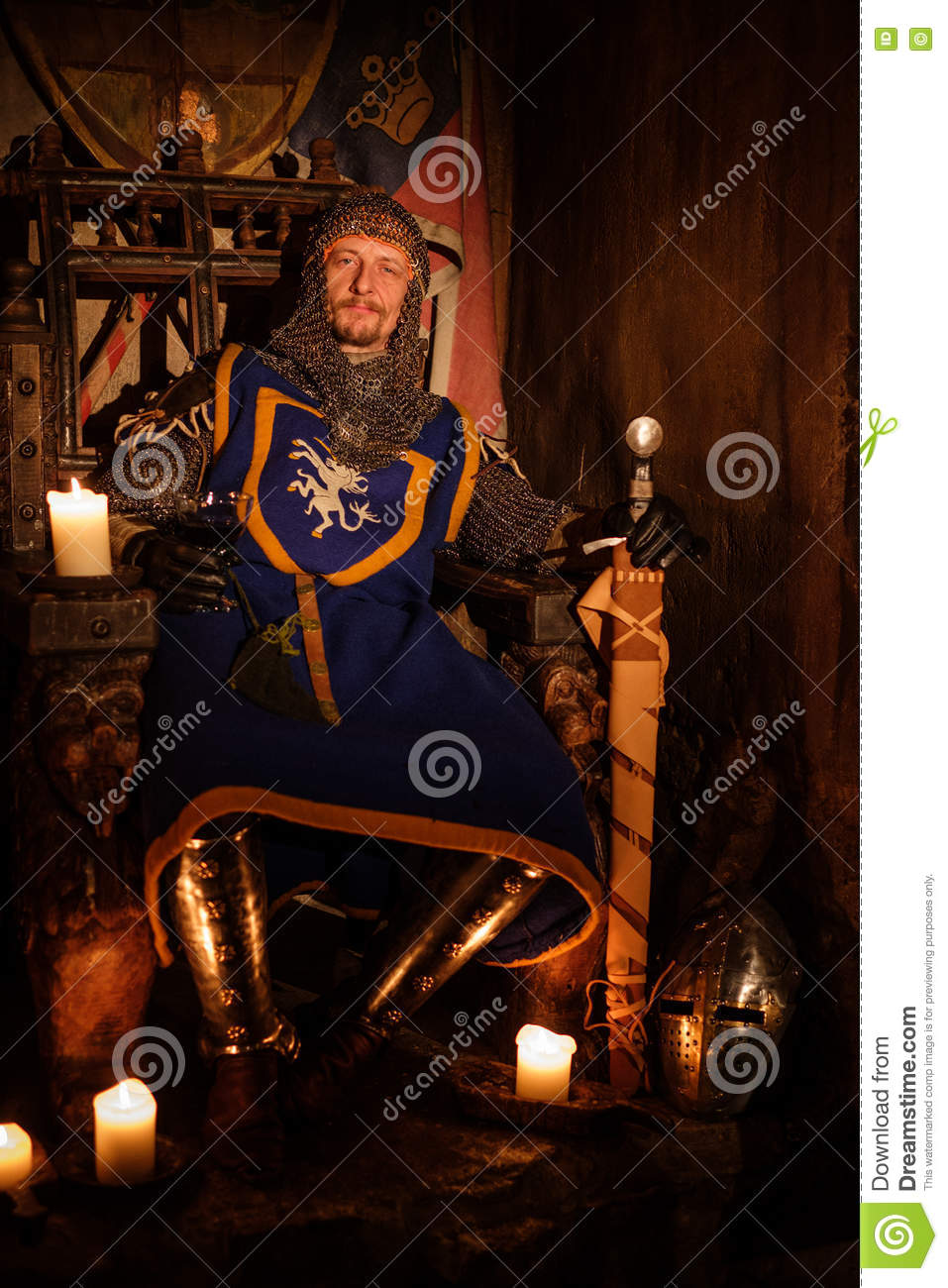 Medieval king on throne in ancient castle interior.
