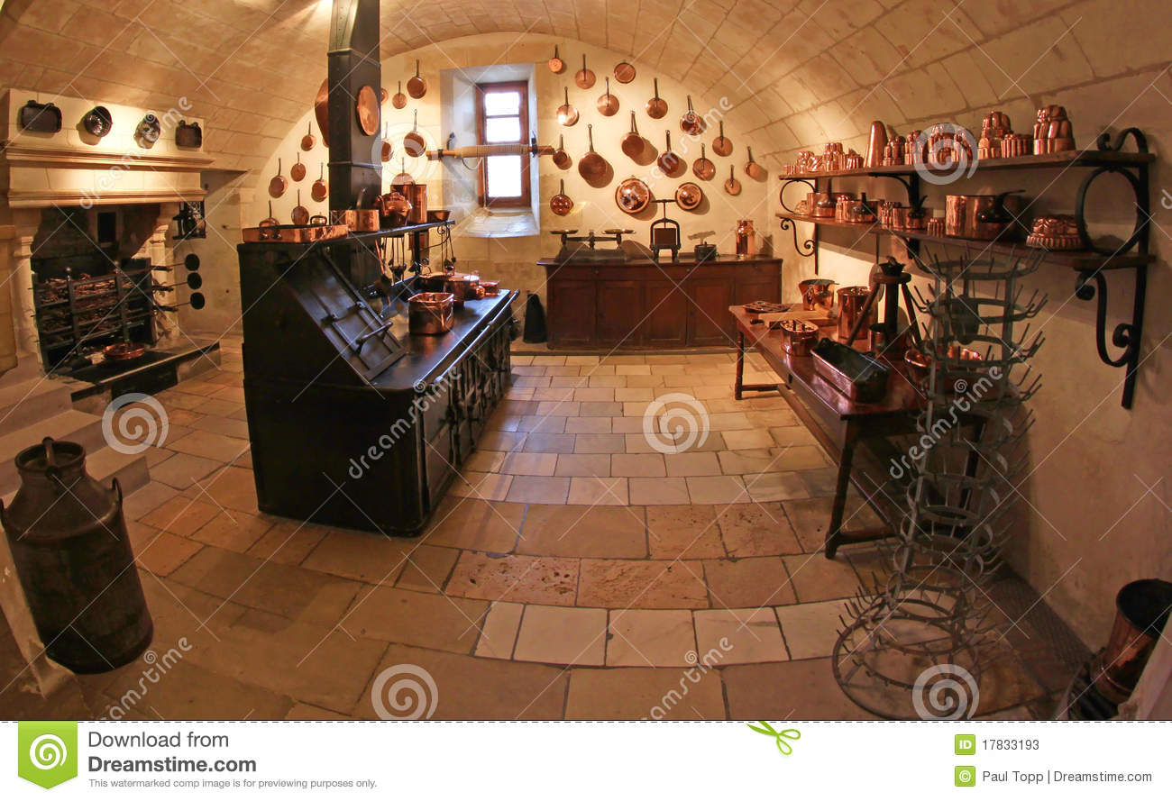 Medieval Kitchen At Chenonceau Castle In France Stock Image - Image ...