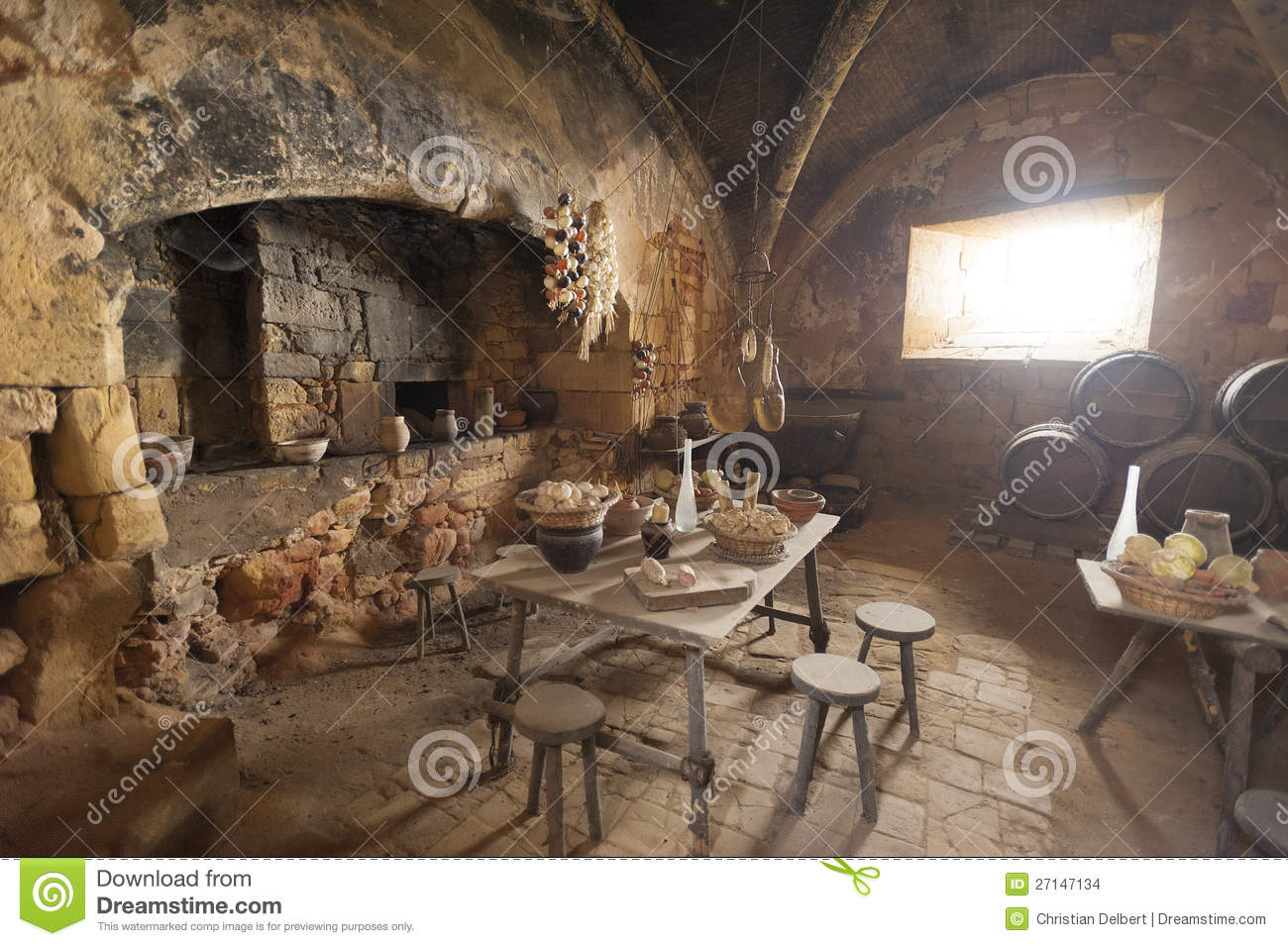 Download Medieval Kitchen And Dining Room Stock Photo