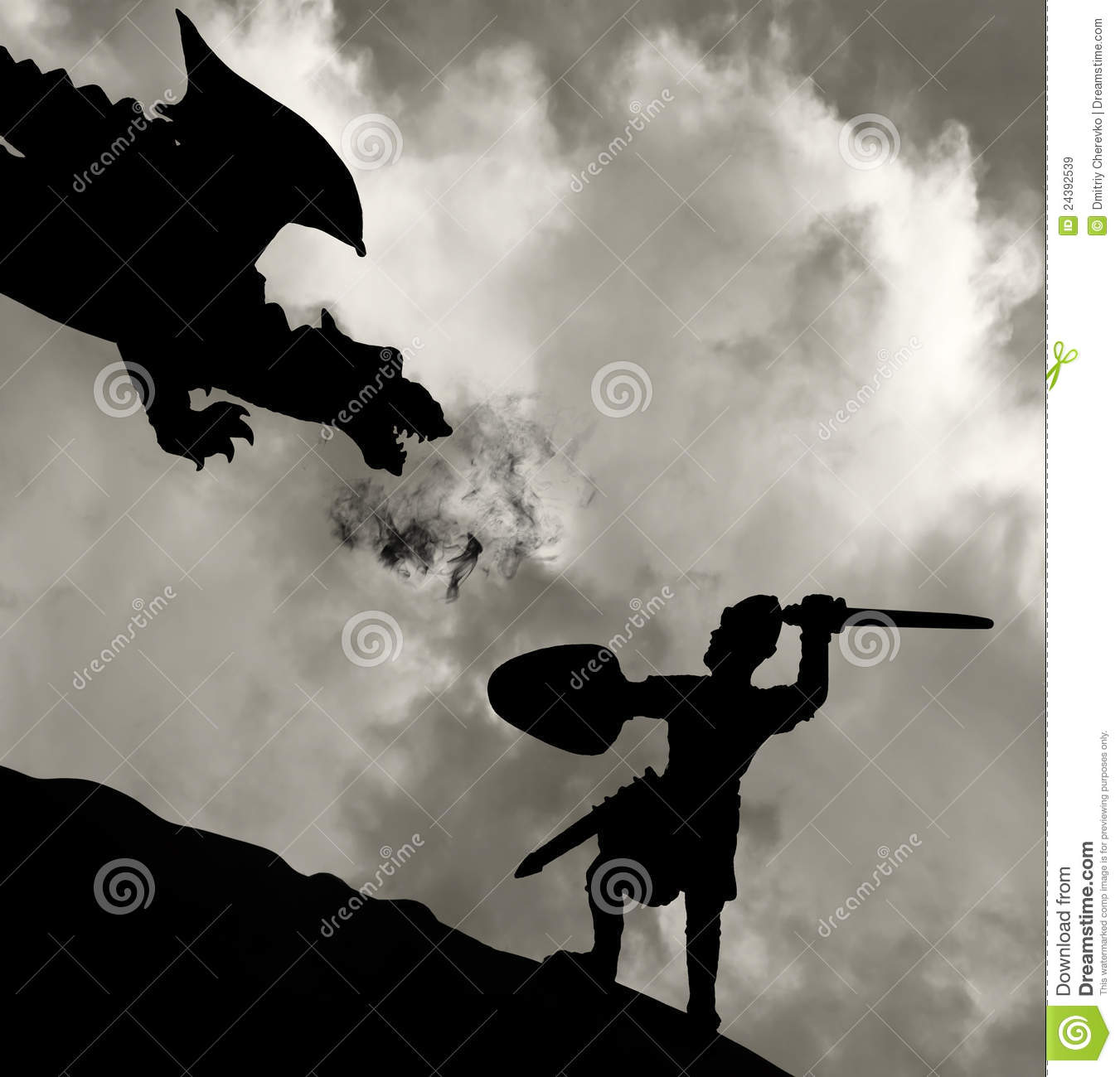 medieval knight fighting the dragon royalty free stock