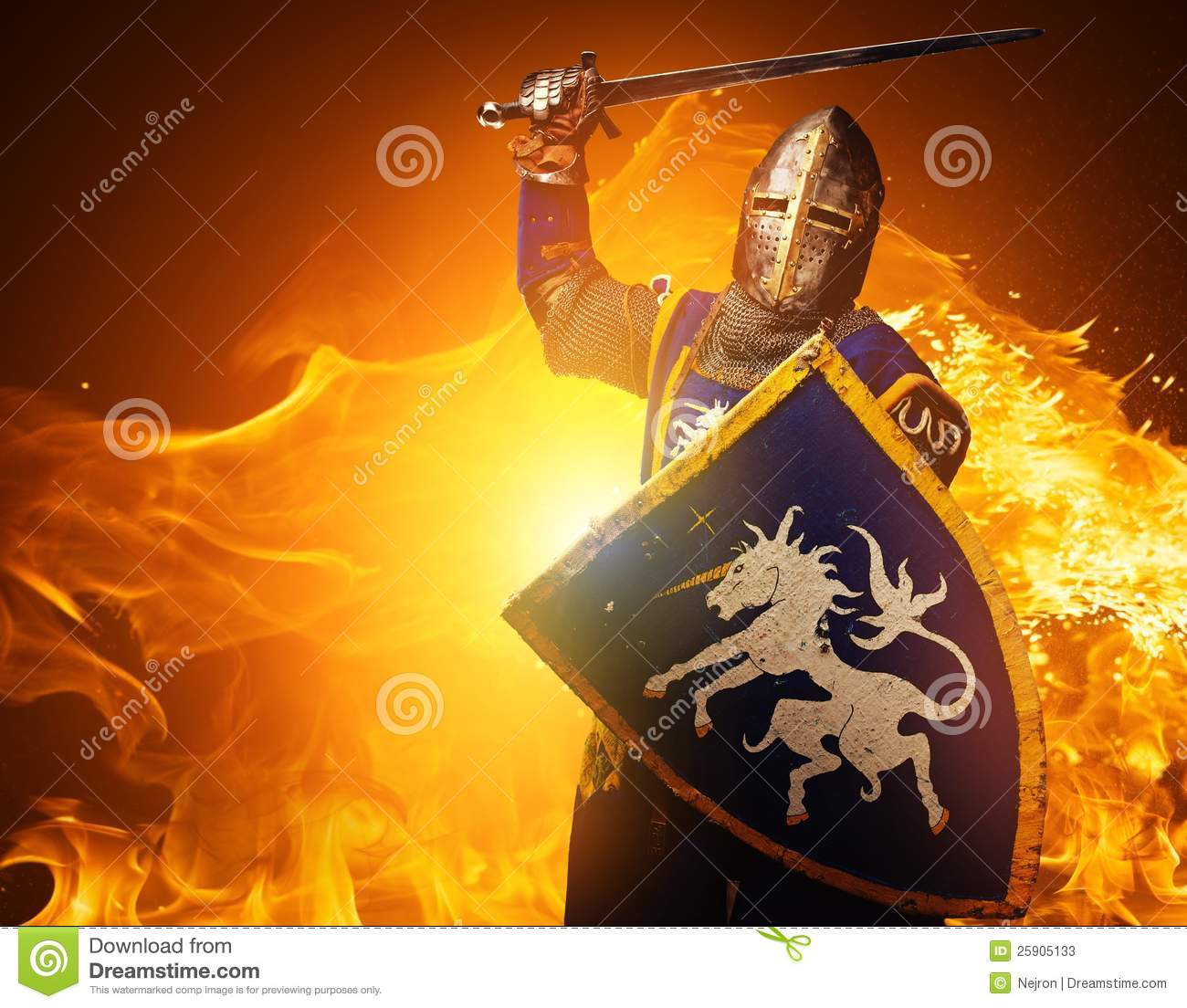 medieval knight on fire background stock image image of