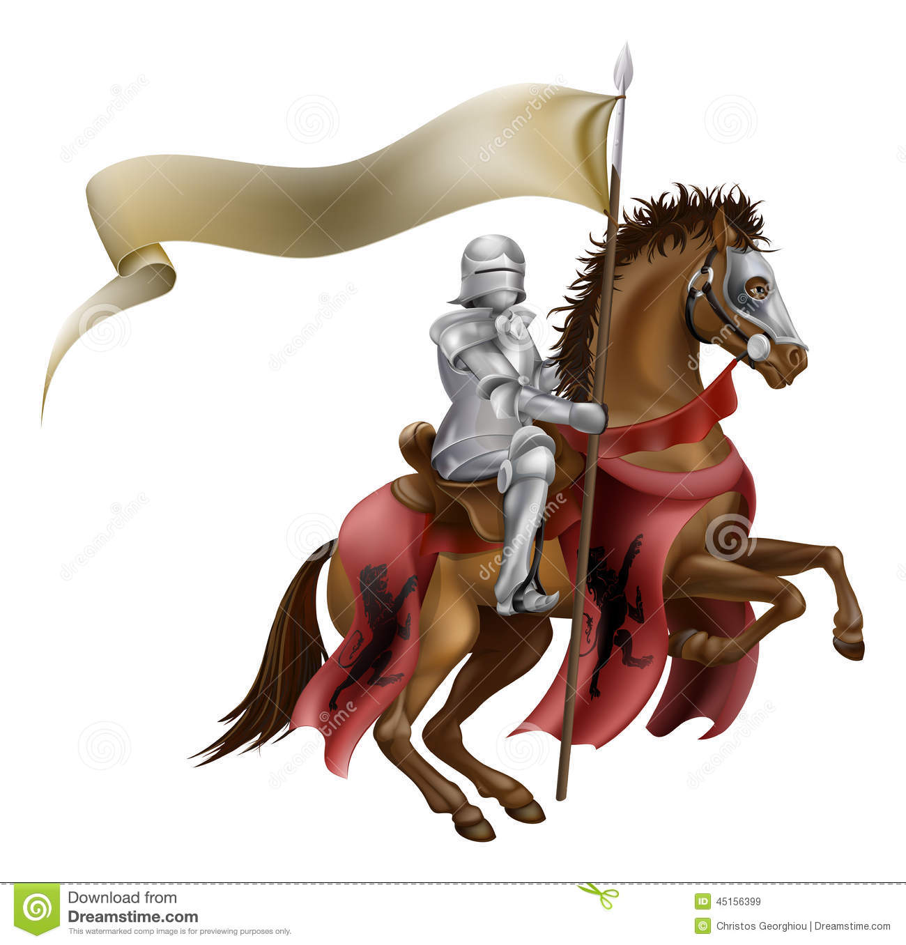 Medieval Knight On Horse Illustration 45156399 Megapixl