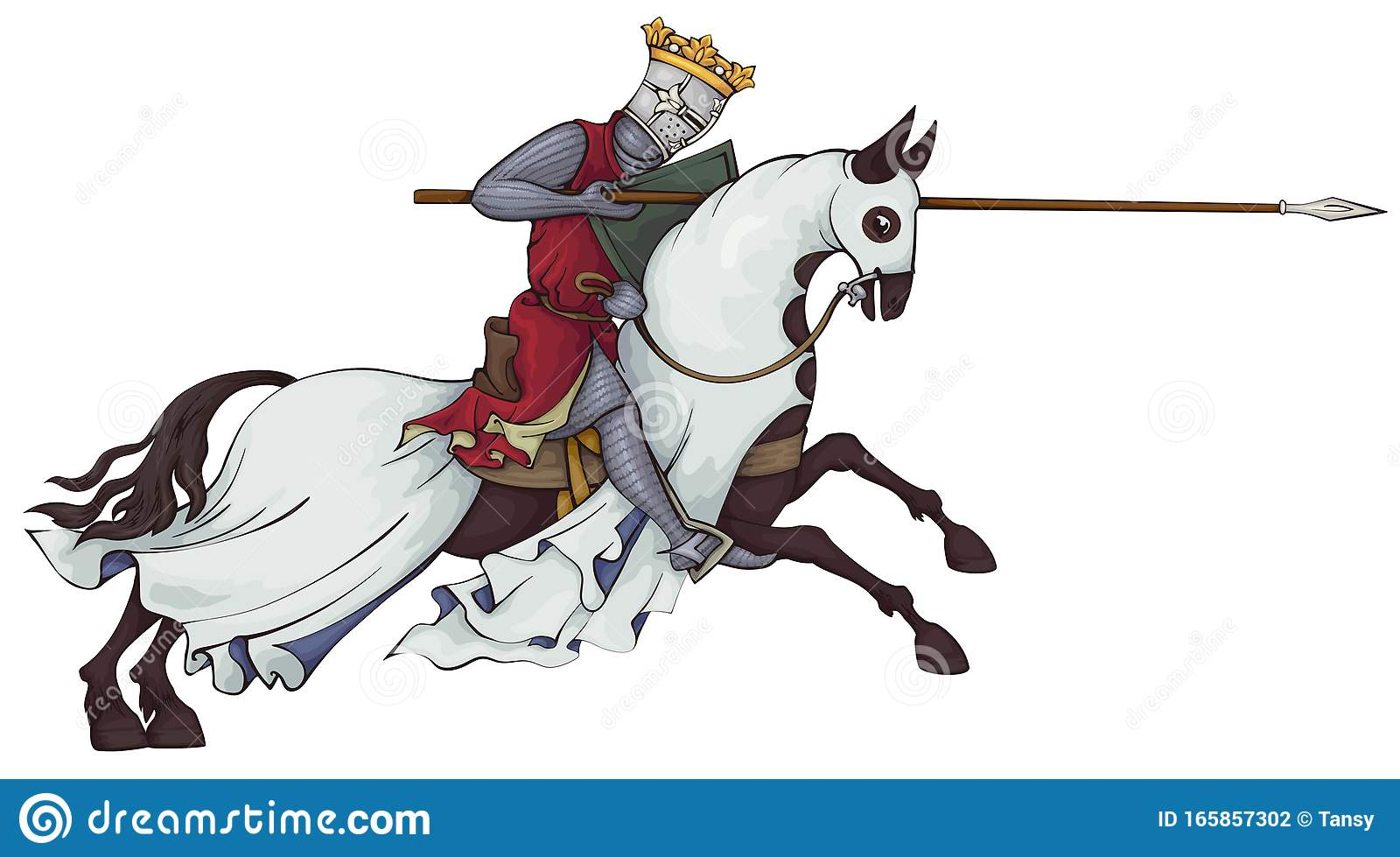 Medieval Knight On Horse King Stock Vector Illustration Of Colour Artwork 165857302