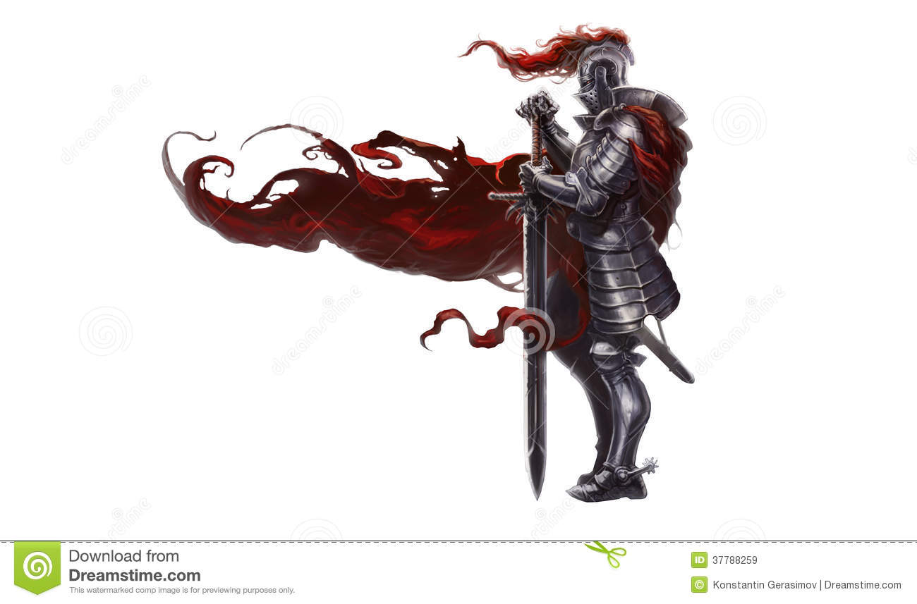 Medieval Knight With Long Sword Royalty Free Stock Images