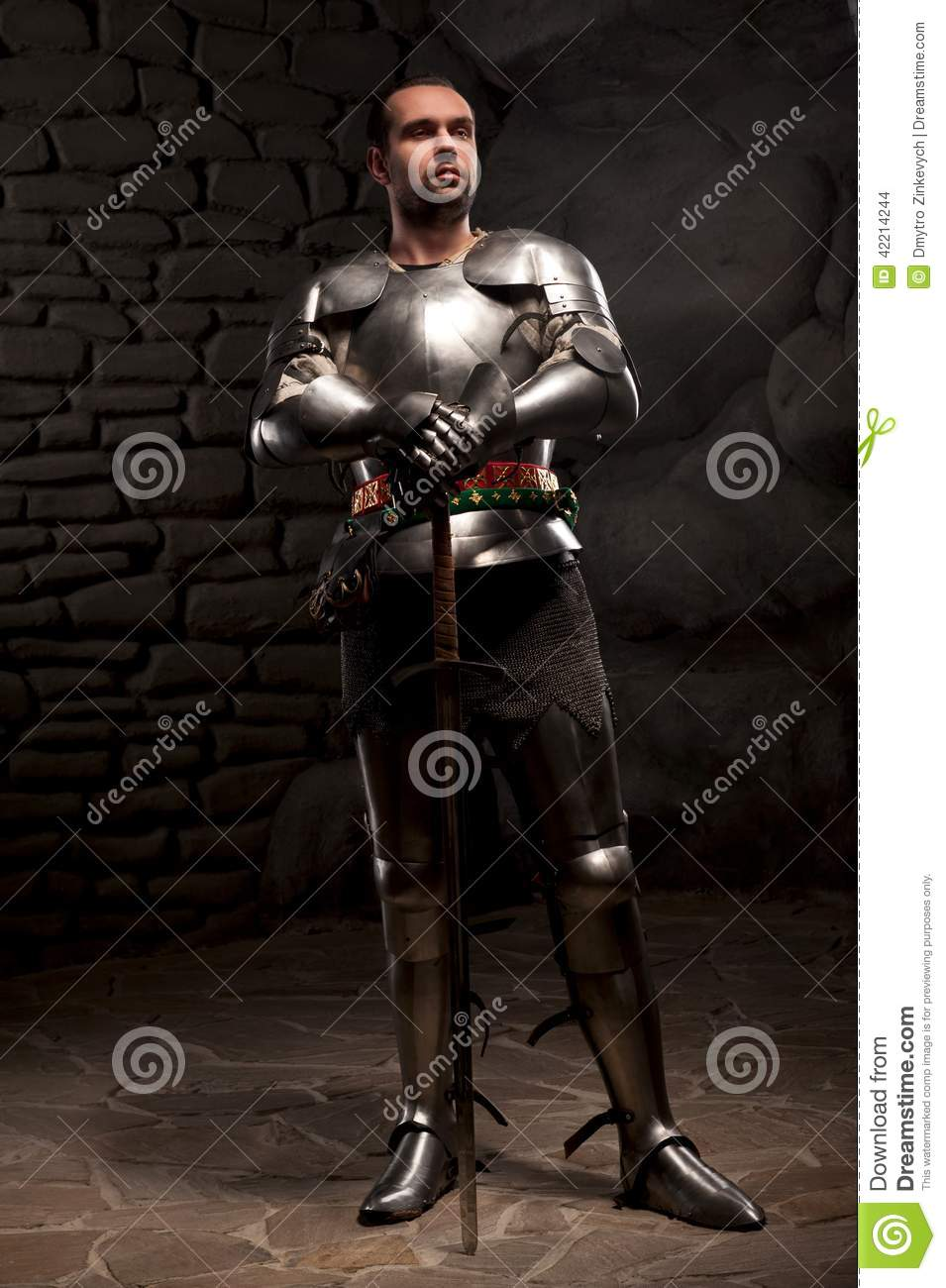 medieval knight posing with sword in a dark stone stock