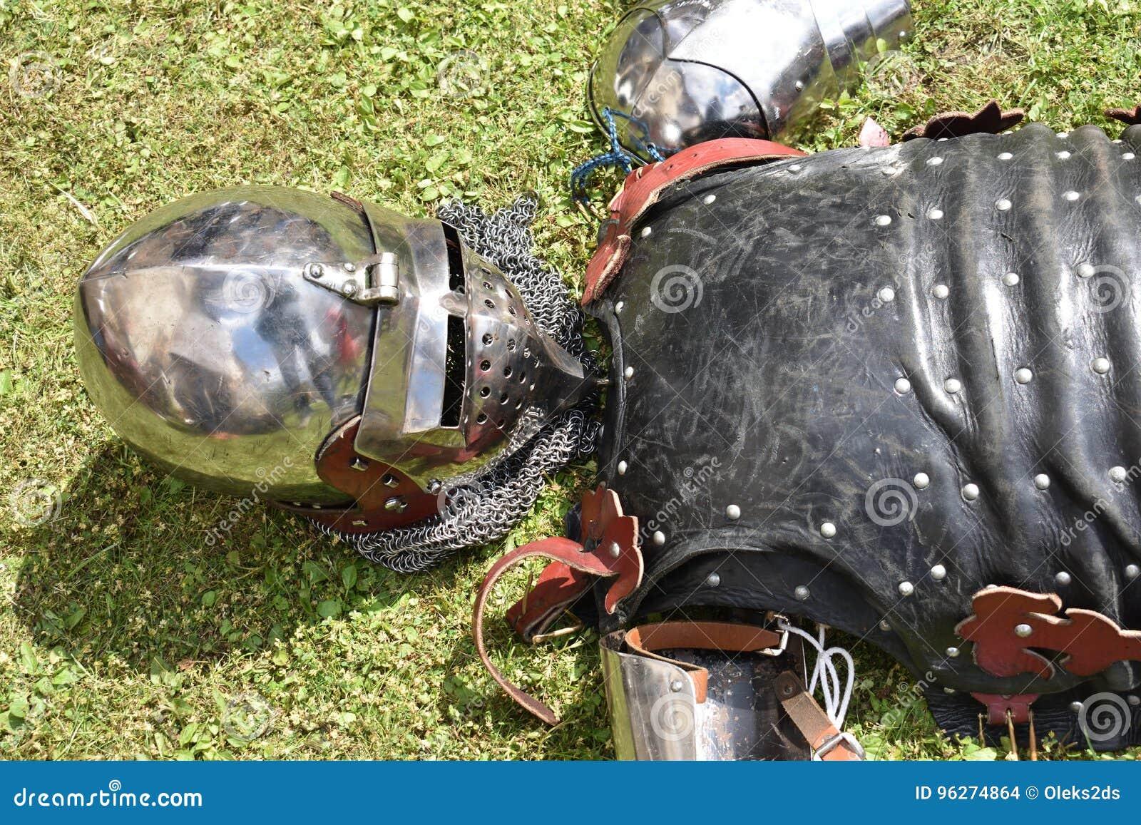 Medieval Knight`s Armor: Helmet, Cuirass And Arm Bracers