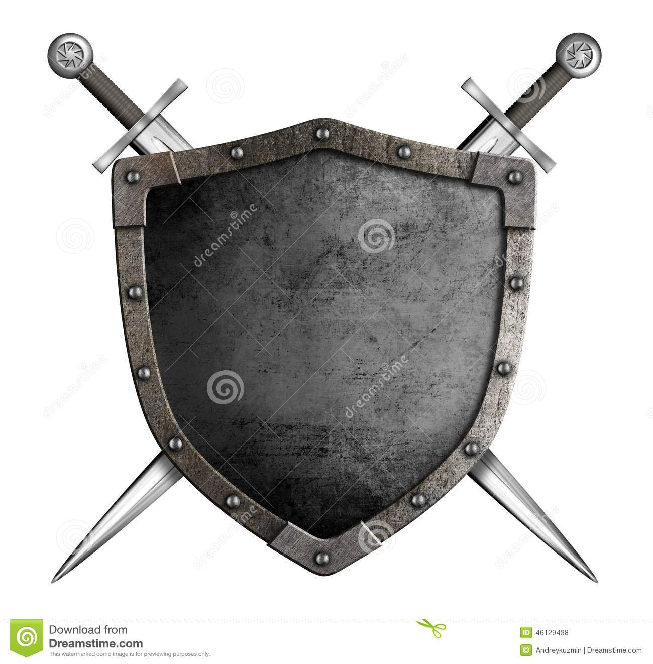 Medieval Knight Shield And Swords As Coat Of Arms Stock ...