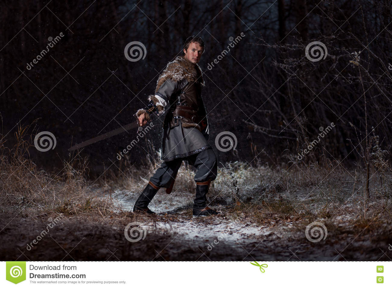 Medieval Knight With Sword In Armor As Style Game Of Thrones In ...