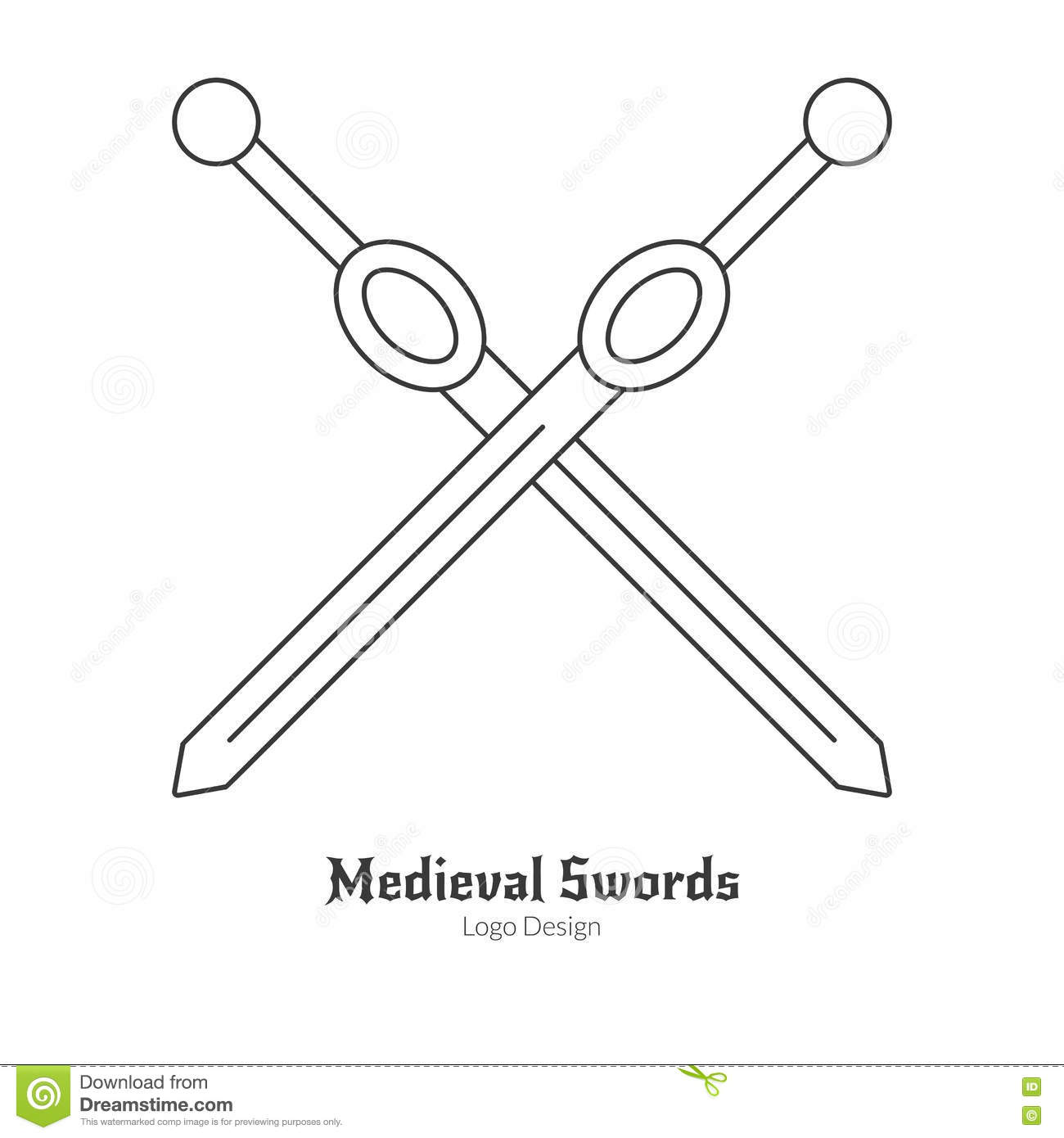 Medieval Logo Emblem Template With Outline Icon Stock Vector ...