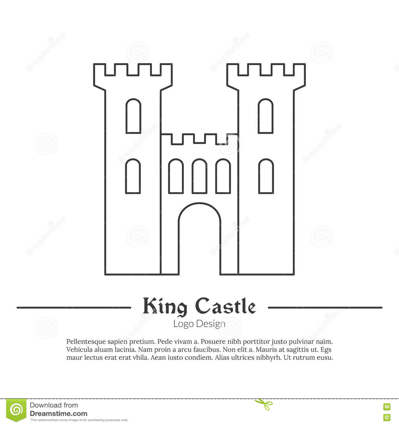 Medieval logo emblem template with outline icon stock for Castle cut out template
