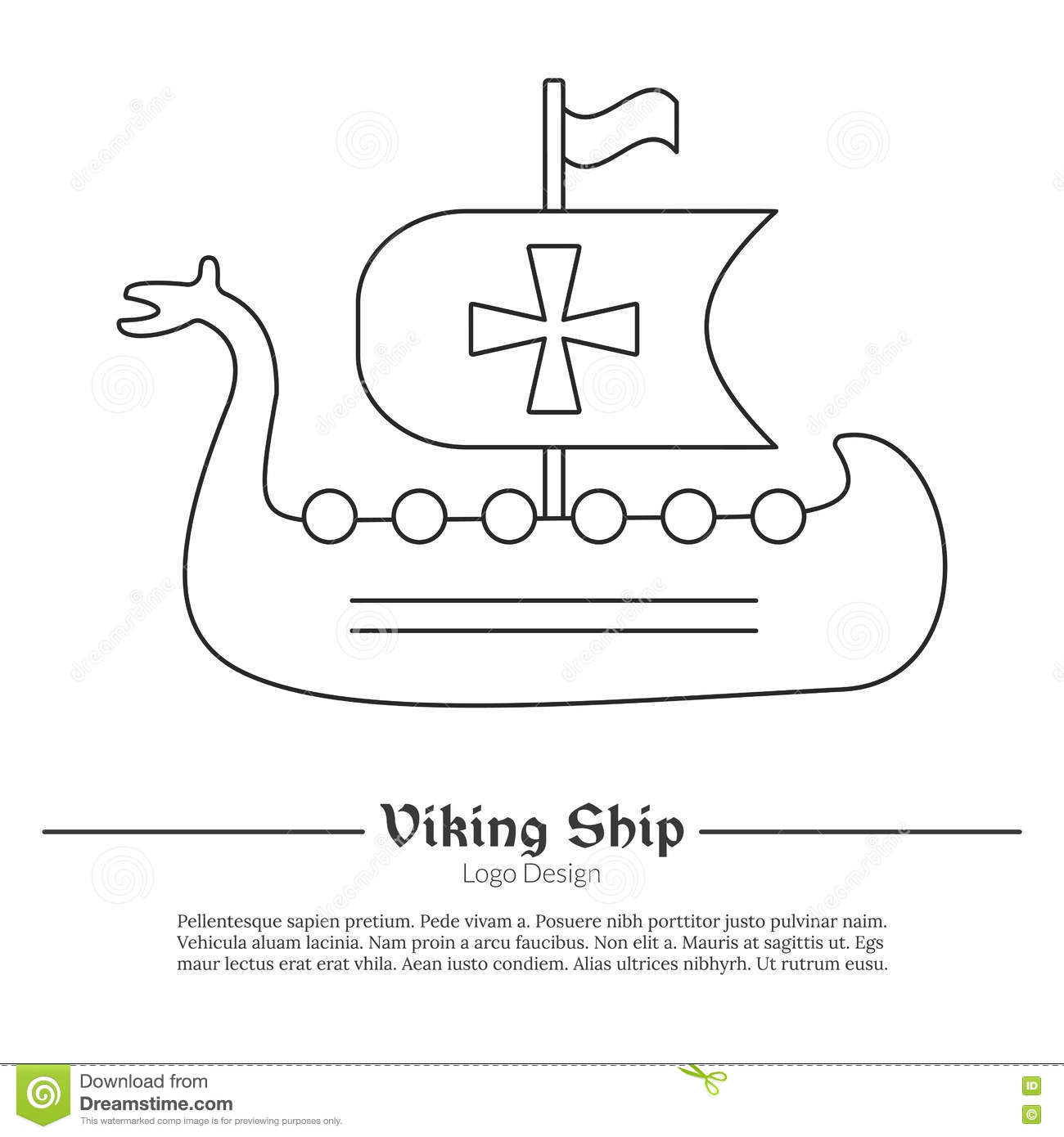 Medieval Viking Ship Boat Single Logo In Modern Thin Line Style Isolated On White Background Outline Theme Symbol Simple Mono Linear Pictogram