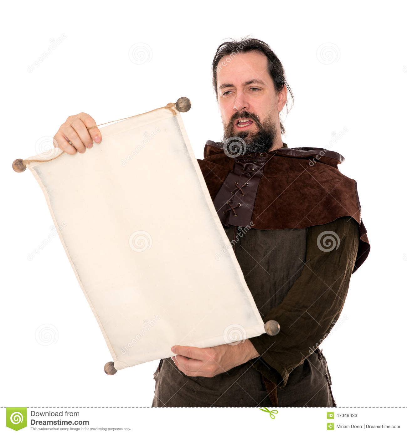 Medieval Man Holding A Scroll Stock Image