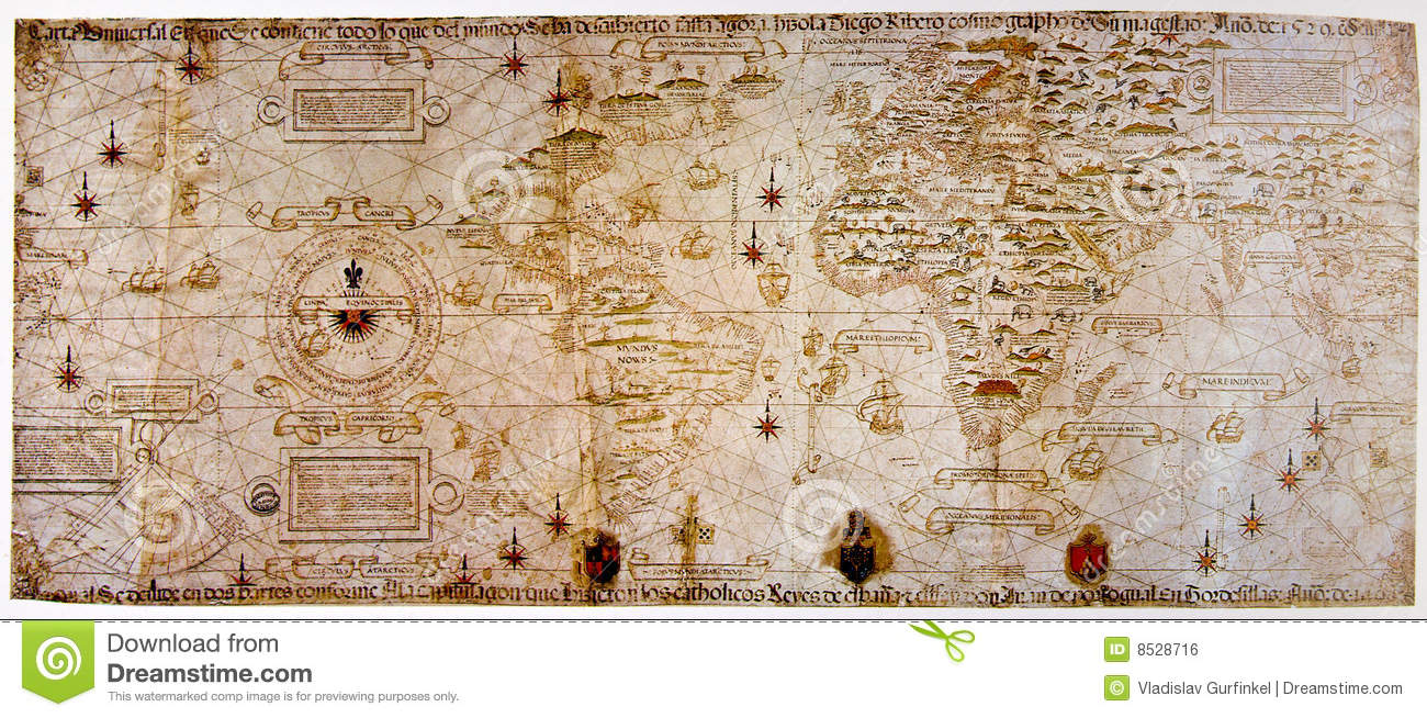 Medieval Map Of The World Stock Photo Image Of Antique 8528716