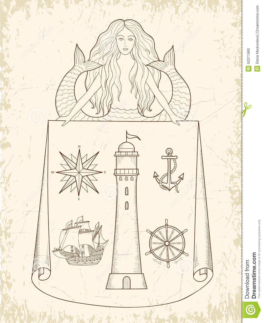 Key Elements Of Nautical Style: Medieval Maritime Maps Stock Vector. Illustration Of