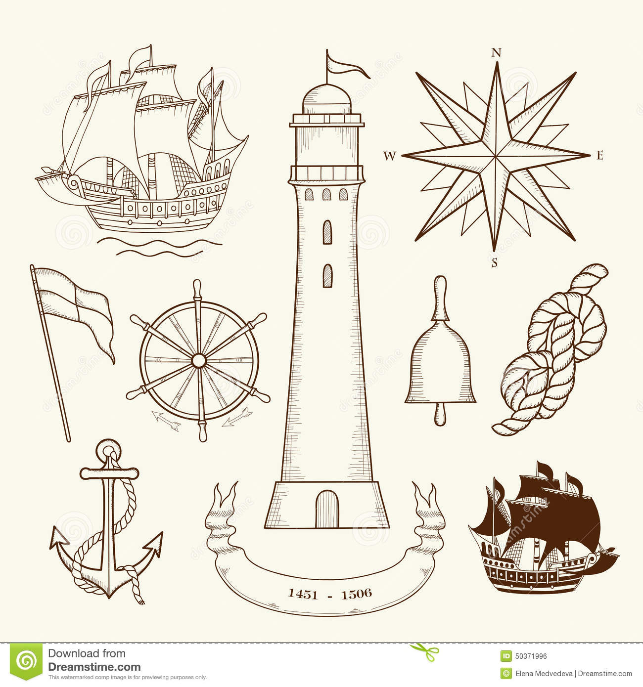 Key Elements Of Nautical Style: Medieval Maritime Maps Stock Vector. Illustration Of Icon