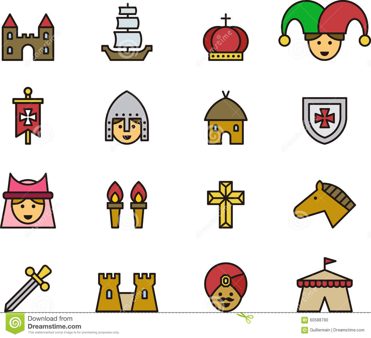 medieval and middle ages icons stock vector illustration of moat rh dreamstime com middle ages clipart free