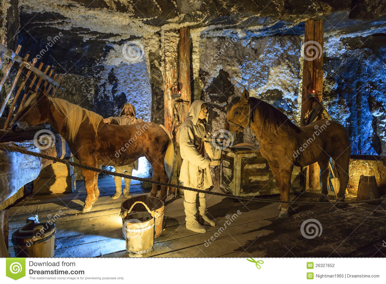 Medieval miner and horses at work in Wieliczka