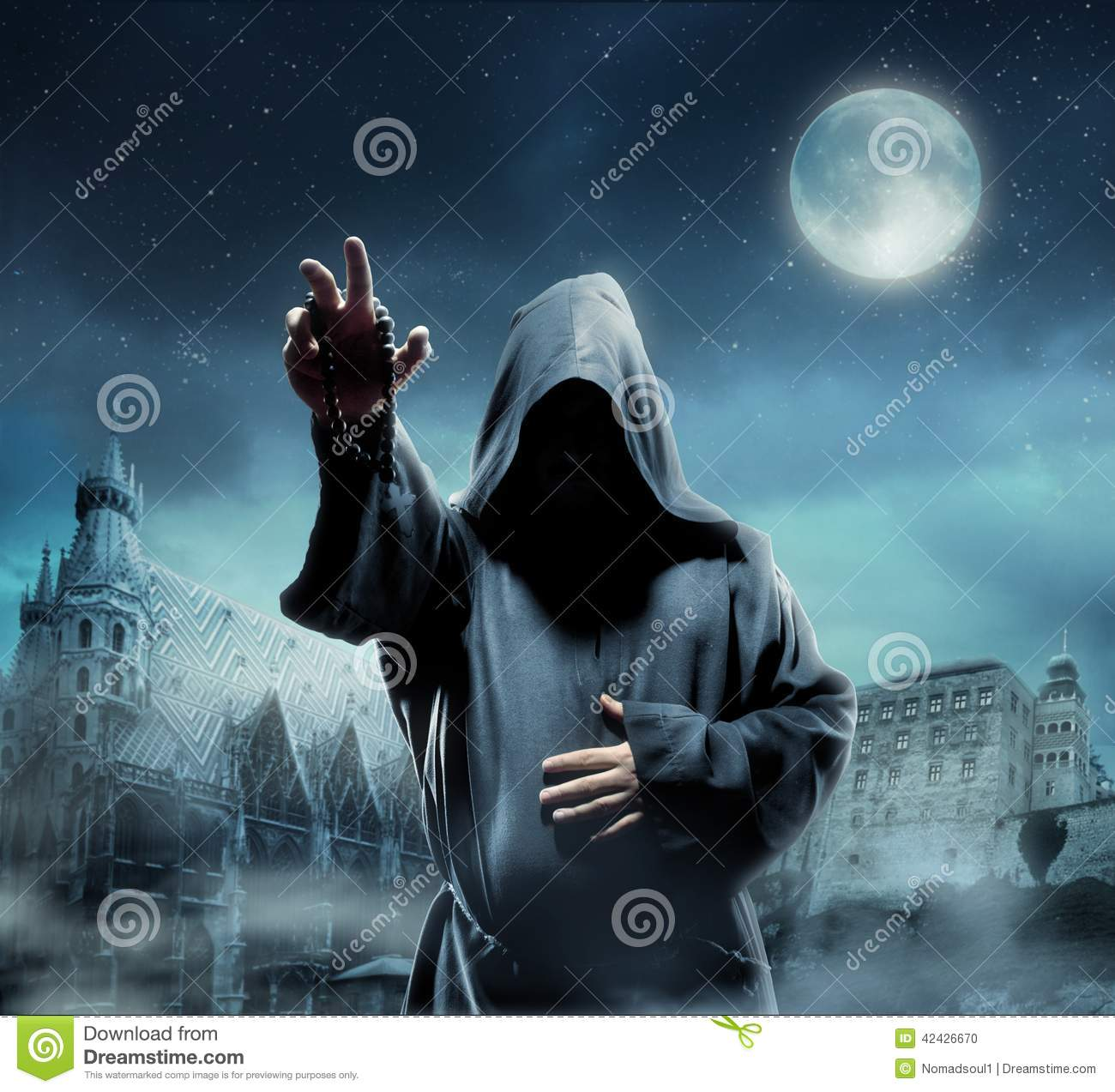 medieval monk at night stock photo image 42426670