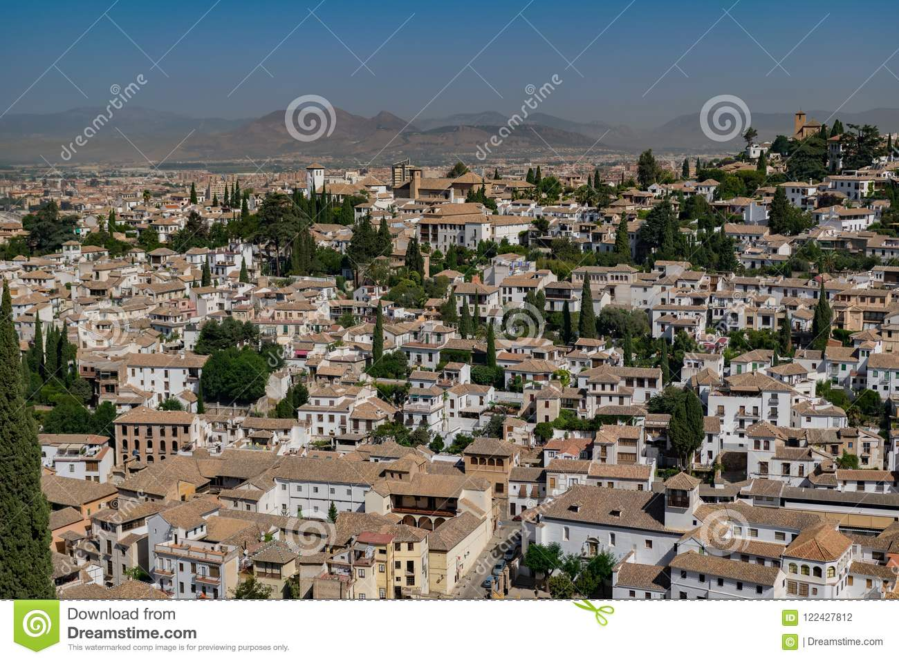 View Of Granada City From Alhambra Fortress, Spain Stock Photo