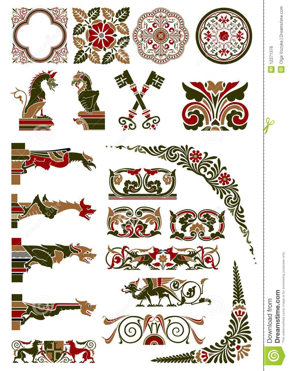 Medieval Motif Collection Royalty Free Stock Image Image