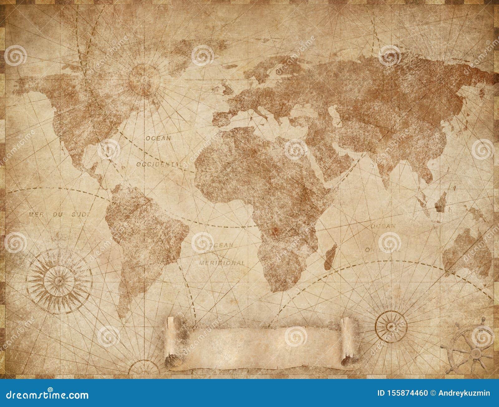 Medieval Old World Map Illustration Based On Image Furnished By