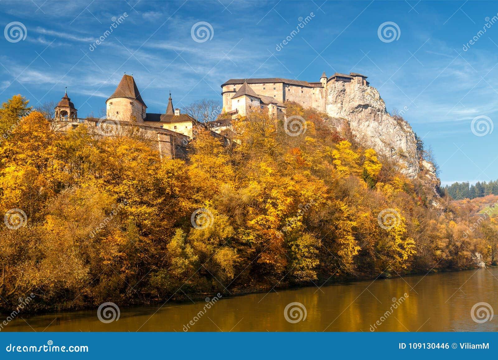 The medieval Orava Castle over a river.