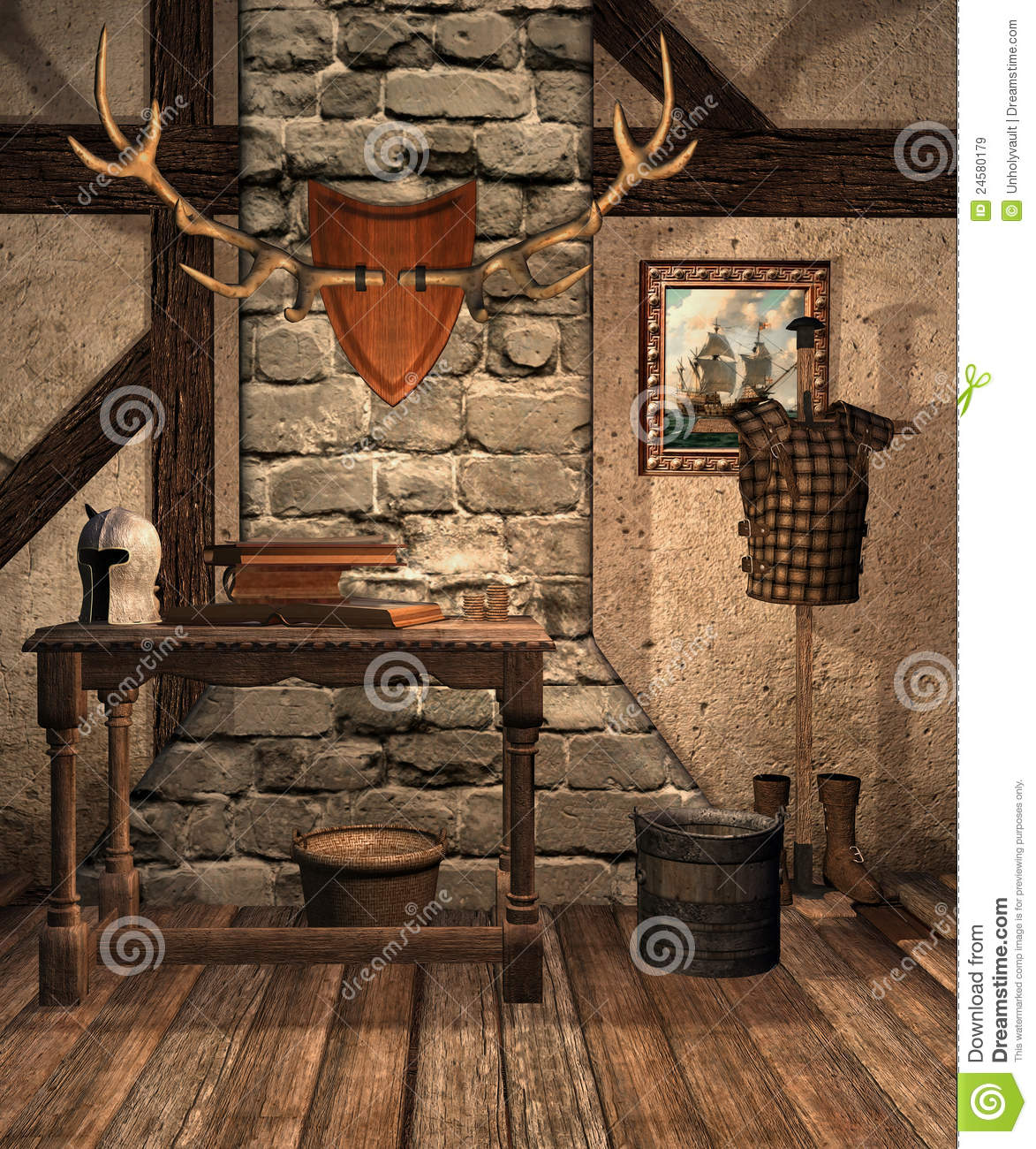 Medieval room with old objects stock illustration for Old objects