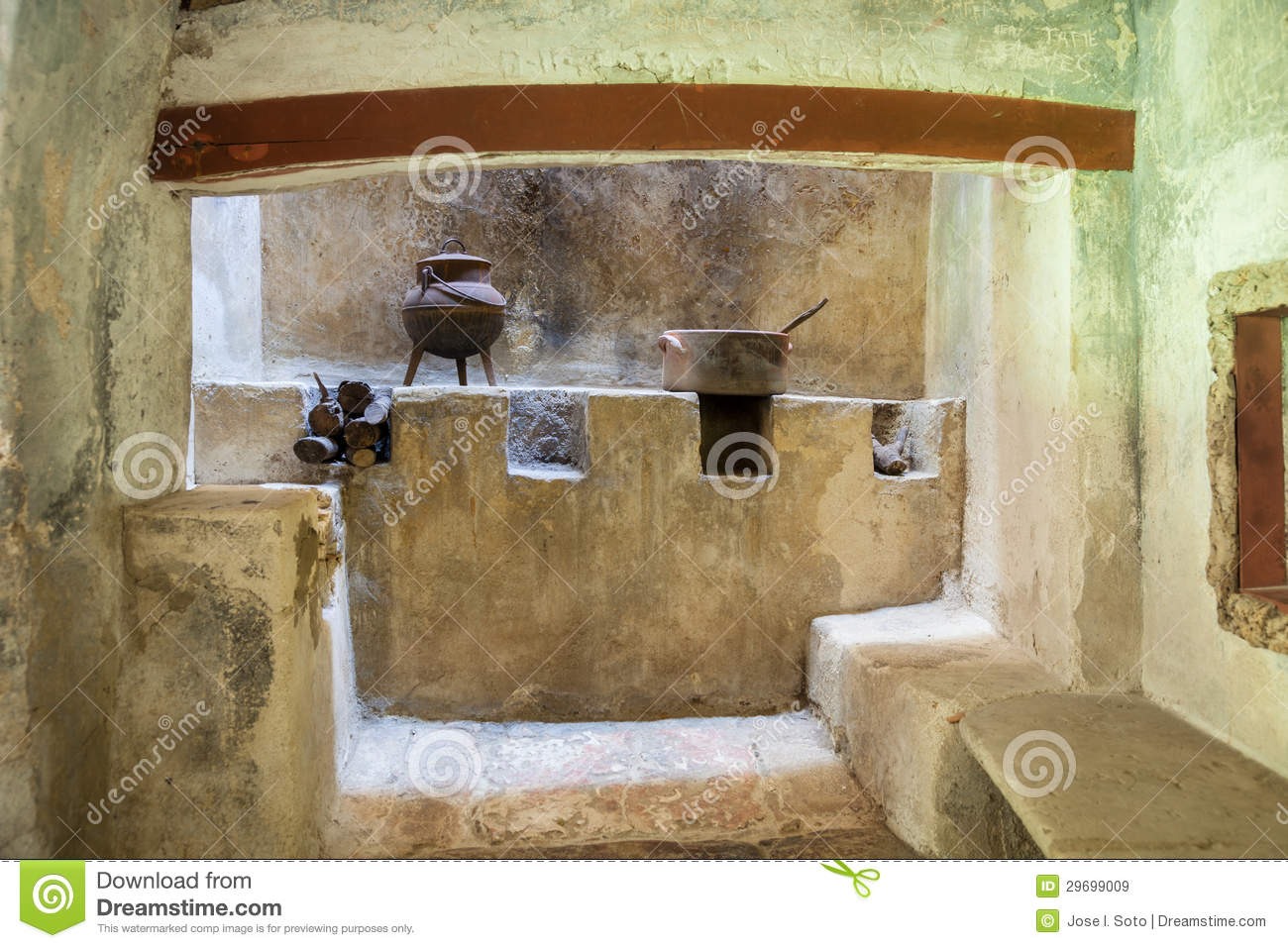 medieval rustic kitchen with fireplace royalty free stock images