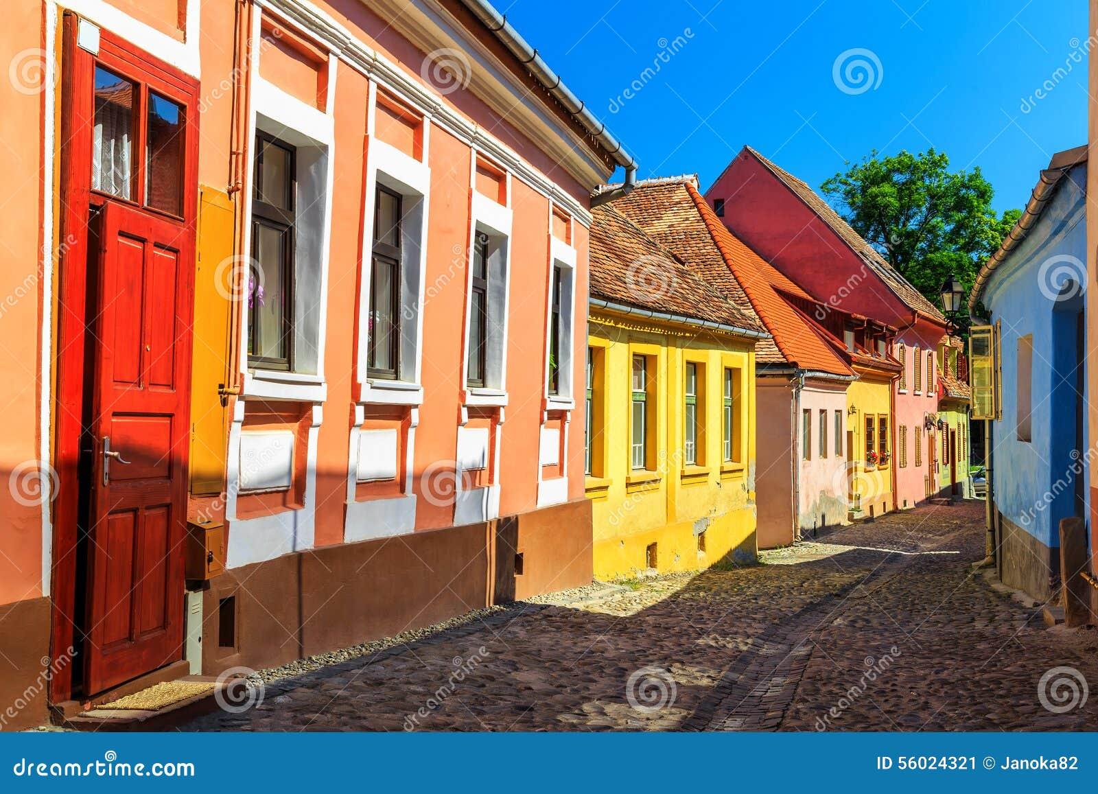Medieval saxon street view in sighisoara transylvania romania europe stock photo image 56024321 - Saxon style houses in transylvania ...