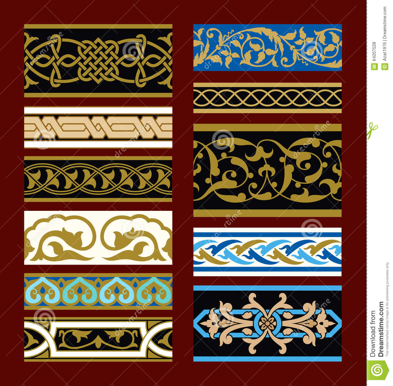 Medieval Seamless Borders Set Stock Vector - Illustration of ornate ...