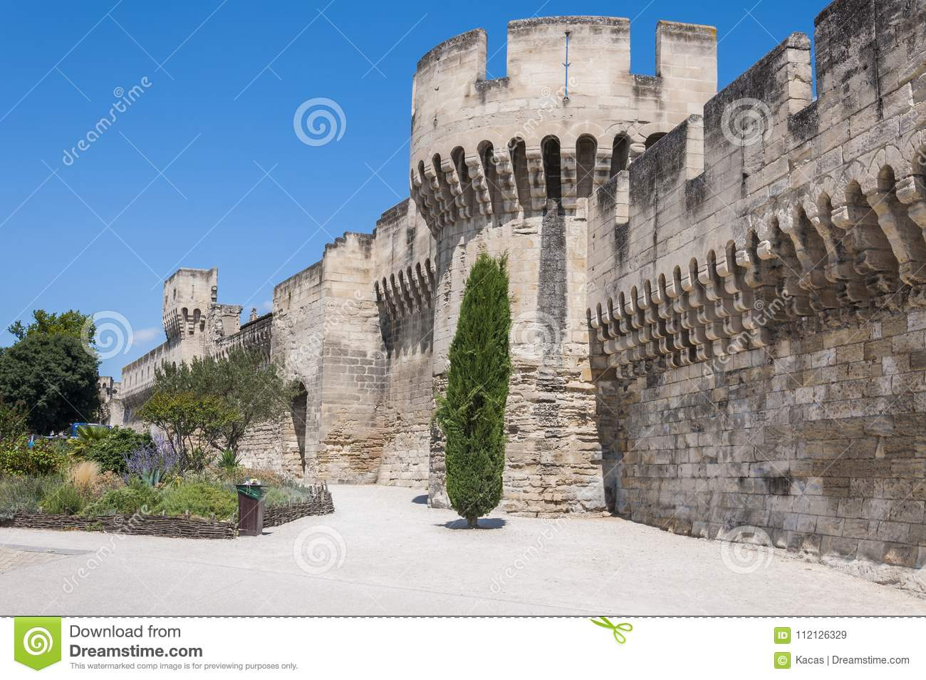 Medieval Security Wall Surrounding Avignon Stock Image Image Of Ancient Built 112126329