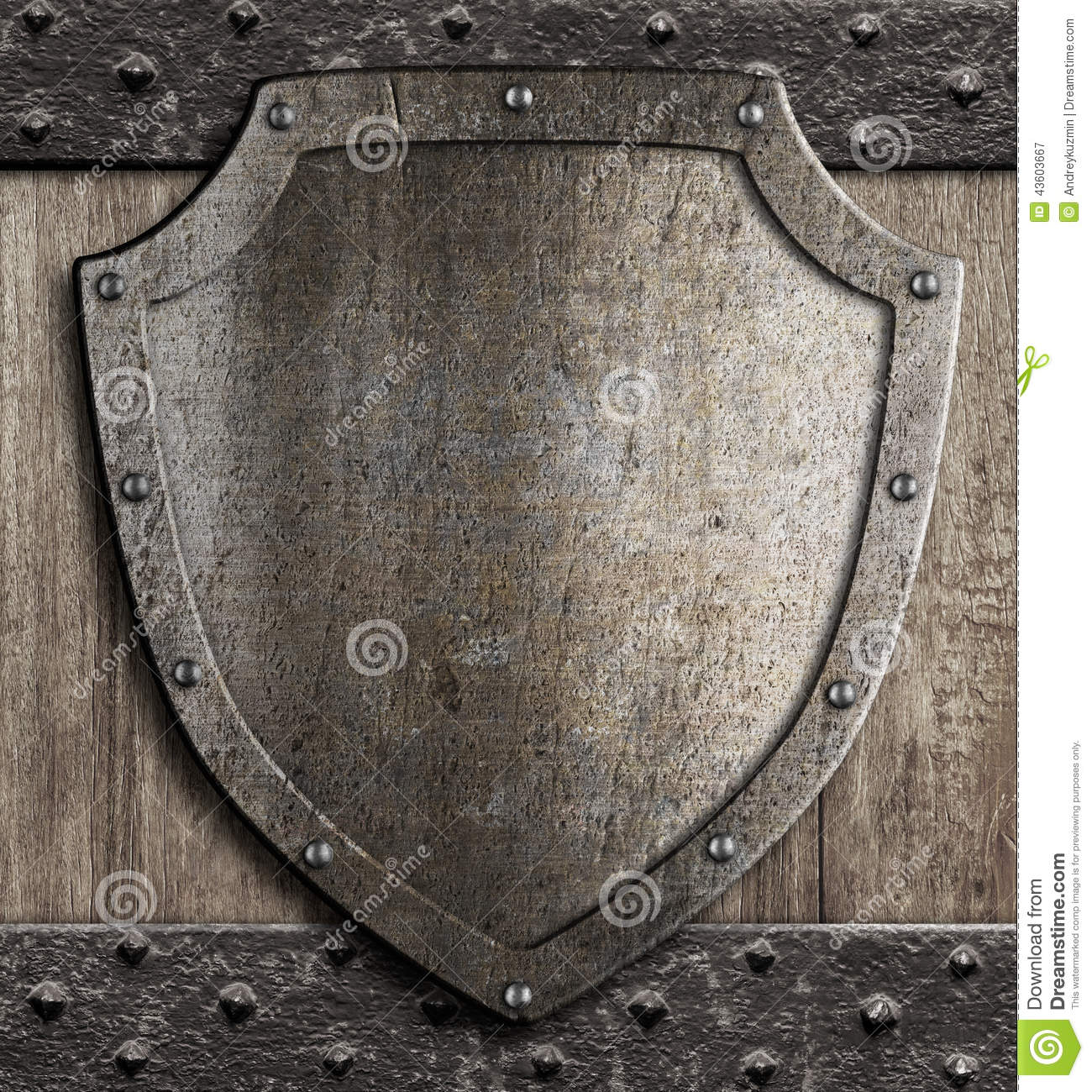 Medieval Shield On Wooden Gate Stock Photo - Image: 43603667