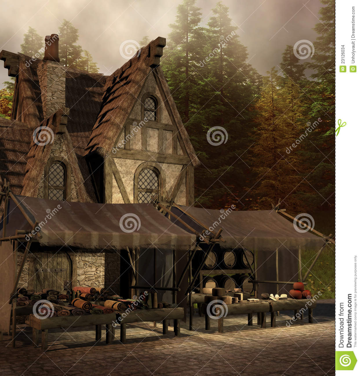 Medieval Shop And Market Stock Images - Image: 23126034