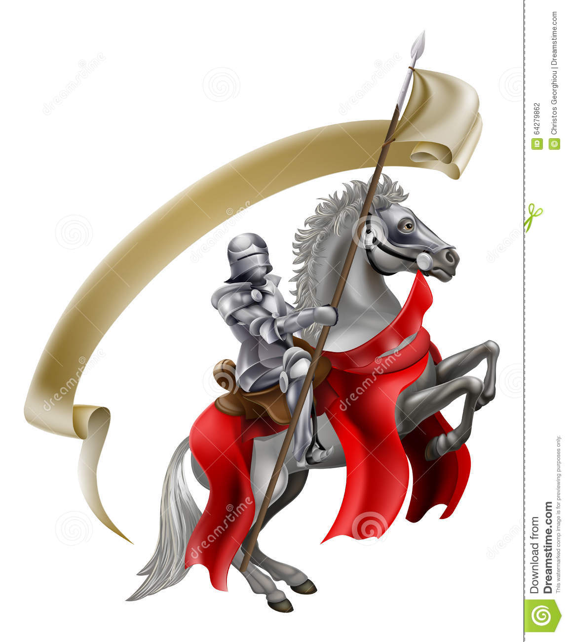 Medieval Spear Knight On Horse Stock Vector Illustration Of Cartoon Metal 64279862