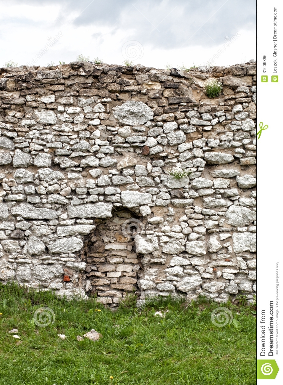 Medieval Stone Castle Wall Background Stock Image Monument