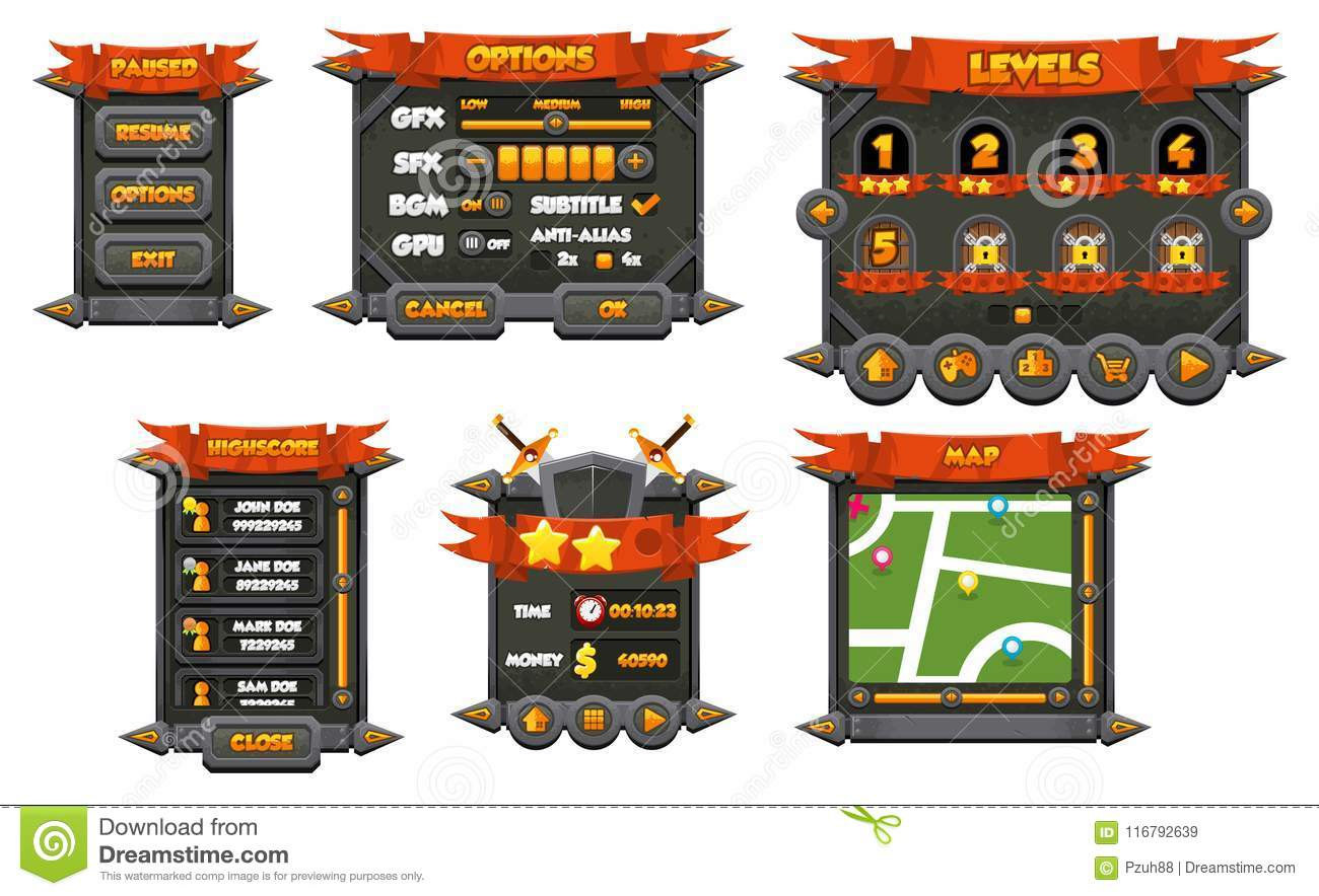 Medieval Stone Game GUI Set Stock Vector - Illustration of