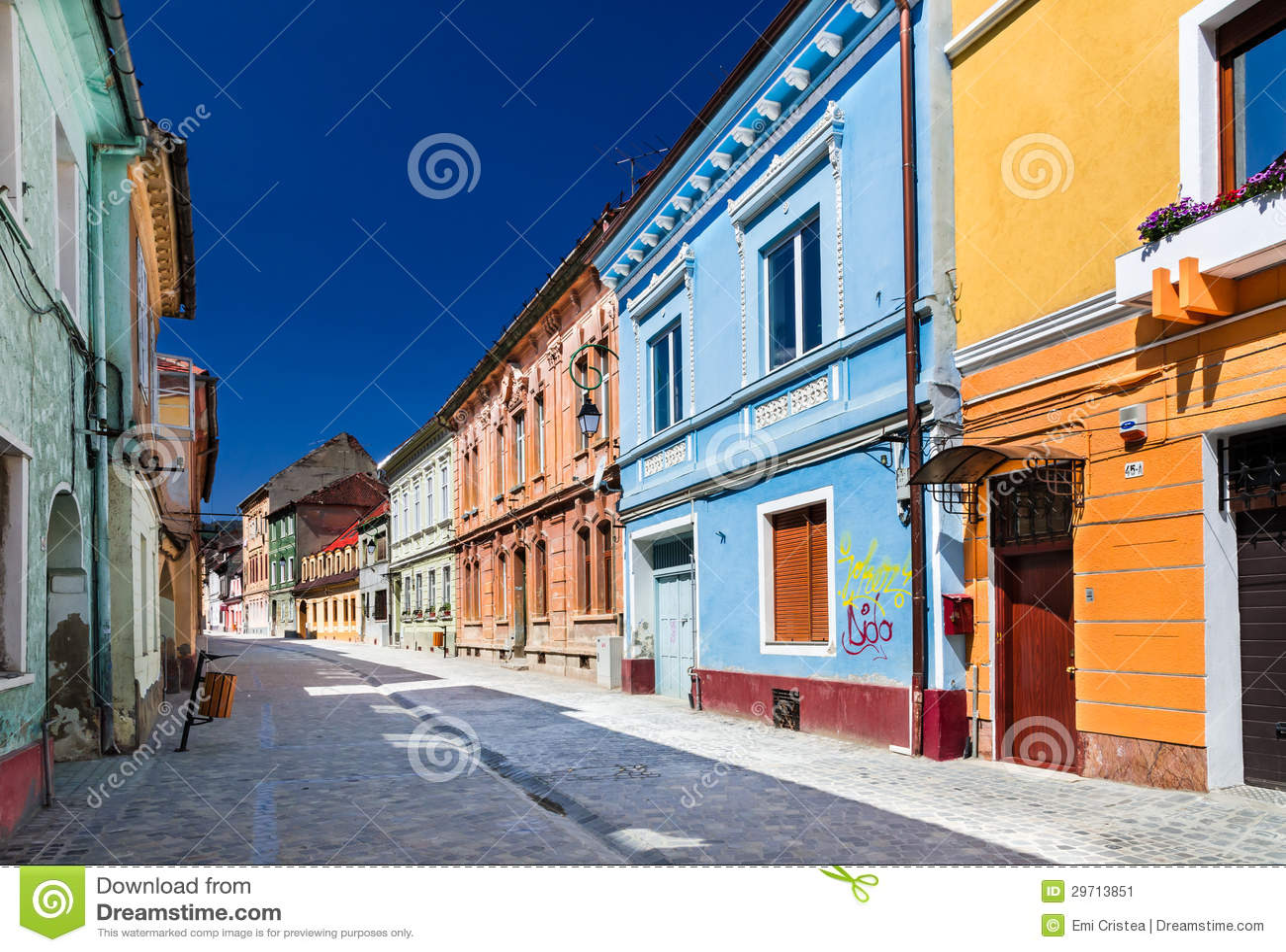 Medieval street in brasov romania stock image image 29713851 - Saxon style houses in transylvania ...