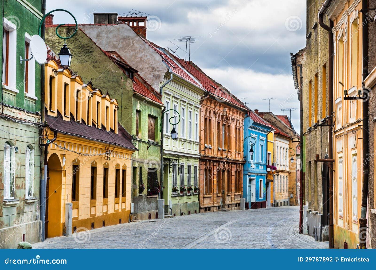 Medieval street in brasov romania stock photo image 29787892 - Saxon style houses in transylvania ...